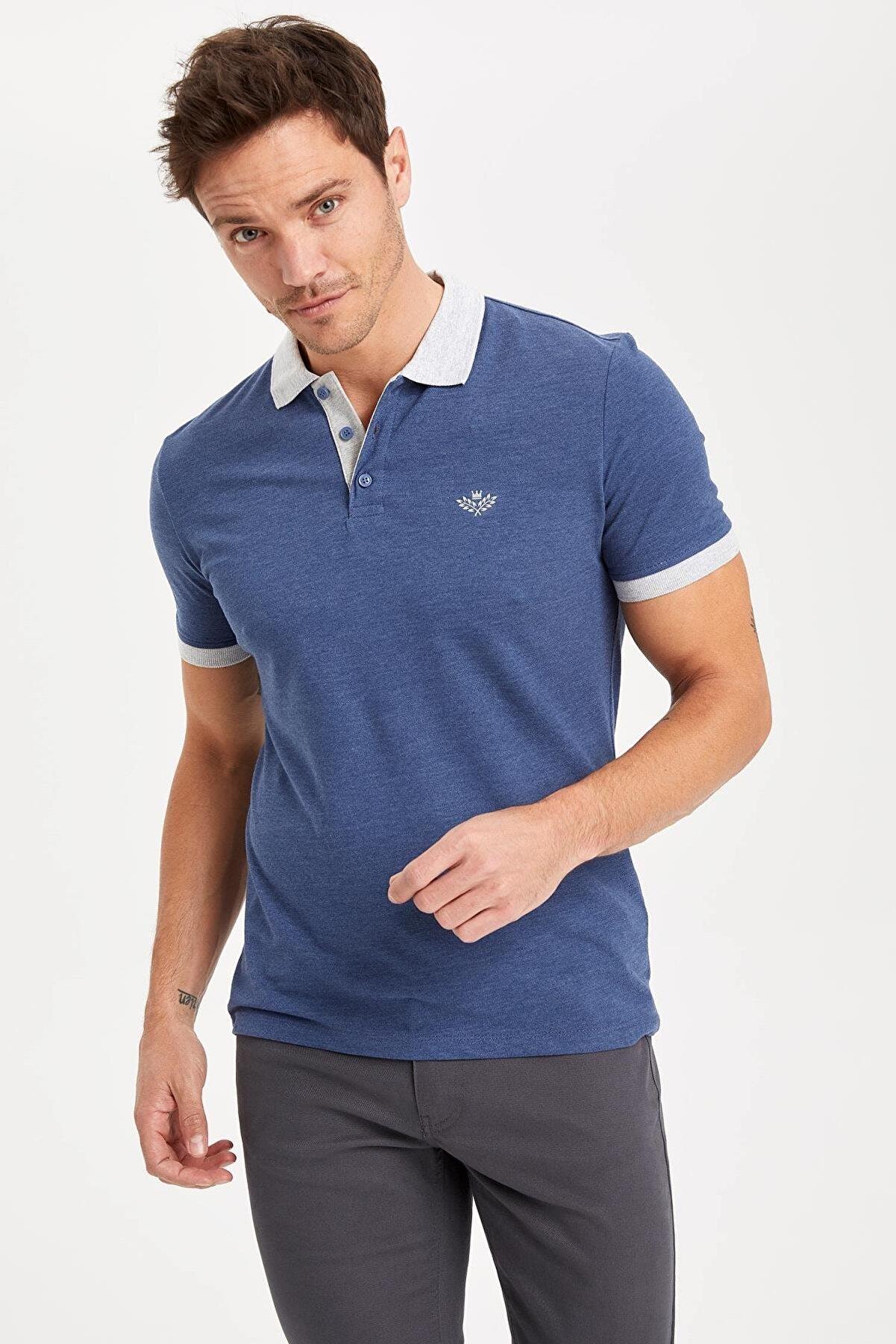 Defacto Slim Fit Polo Yaka Baskılı Kısa Kollu Mavi Tişört