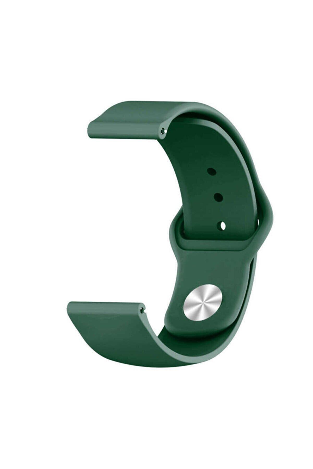Samsung Galaxy Watch 42mm Klasik Silikon Kordon (sağlam Esnek Dizayn) Koyu Yeşil