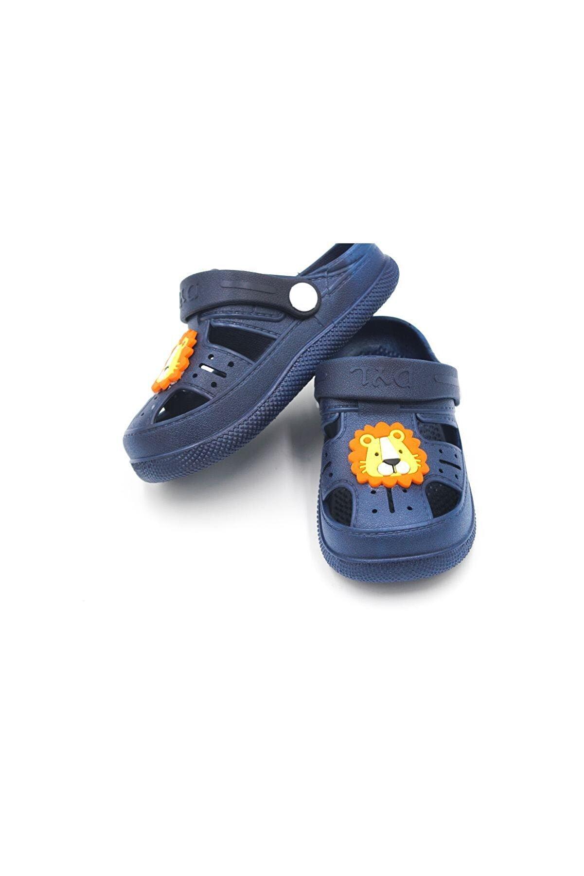 Daye Çocuk Günlük Ortopedik Kaymaz Taban Hayvan Figürlü Çocuk Sandalet Terlik - Lacivert
