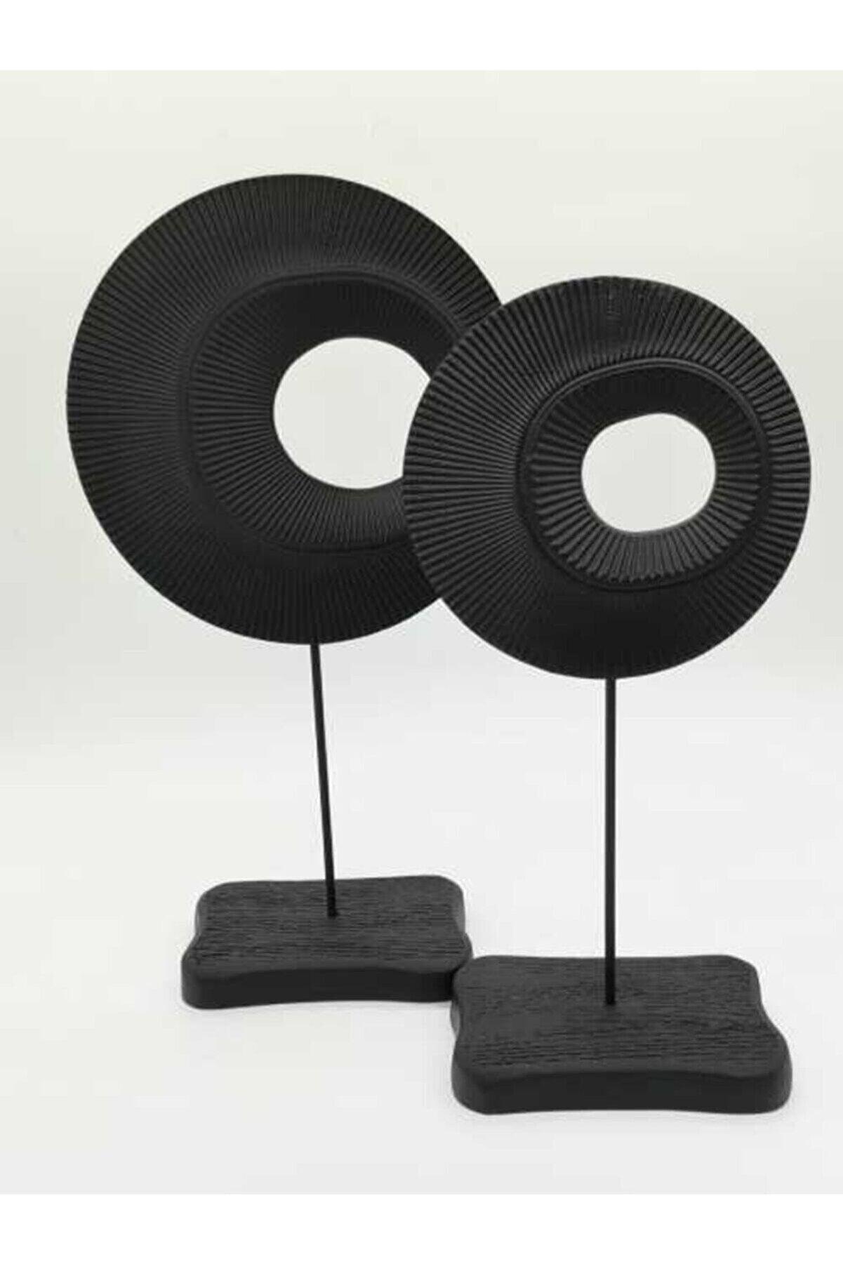 AysalStore Dekoratif Siyah Halka Obje 2'li Set Biblo Mat Siyah