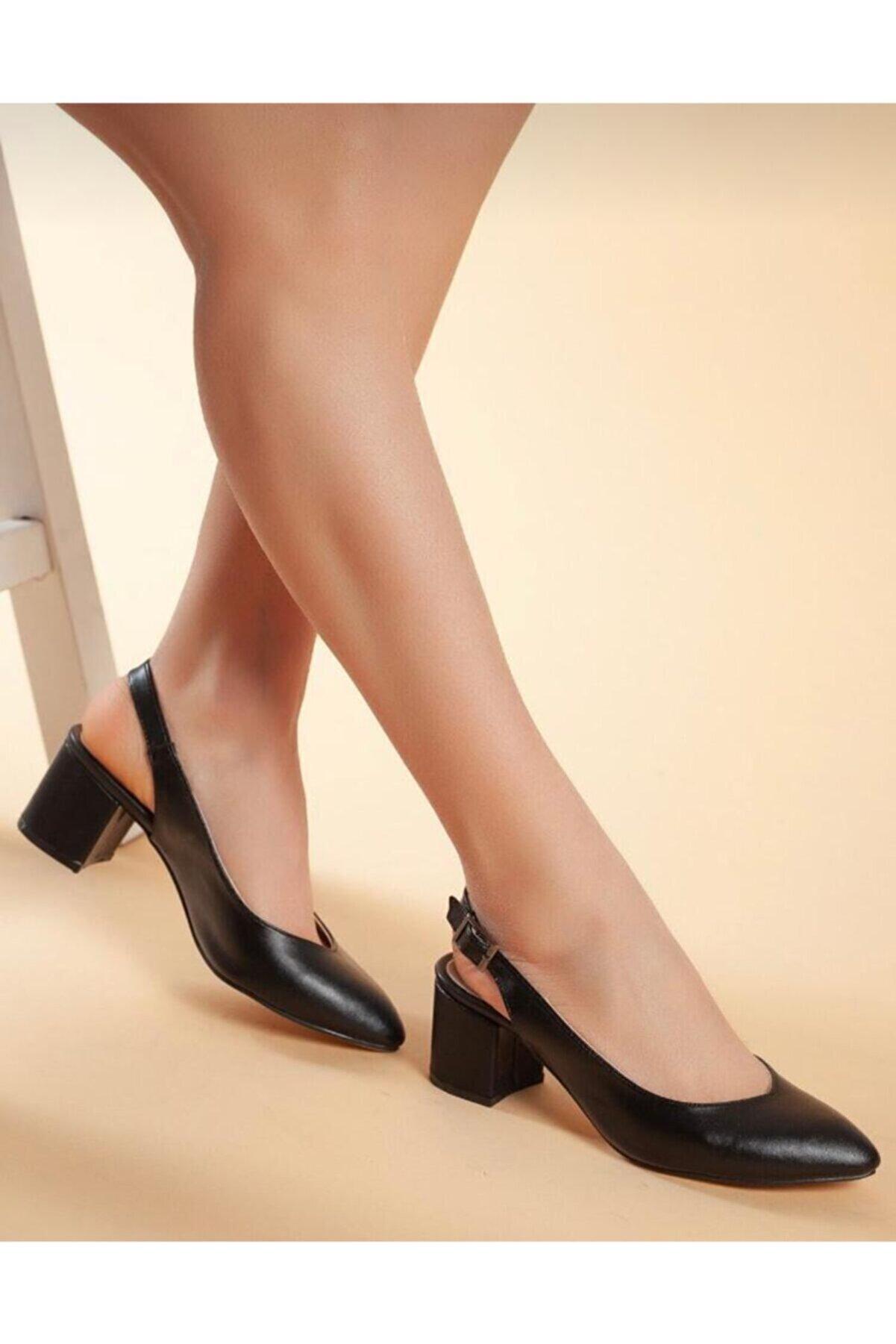 Demashoes Kadın Siyah Topuklu Ayakkabı