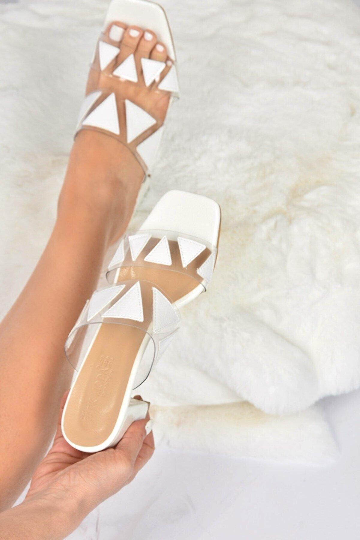 Fox Shoes Kadın  Beyaz Şeffaf Topuklu Terlik K820080323