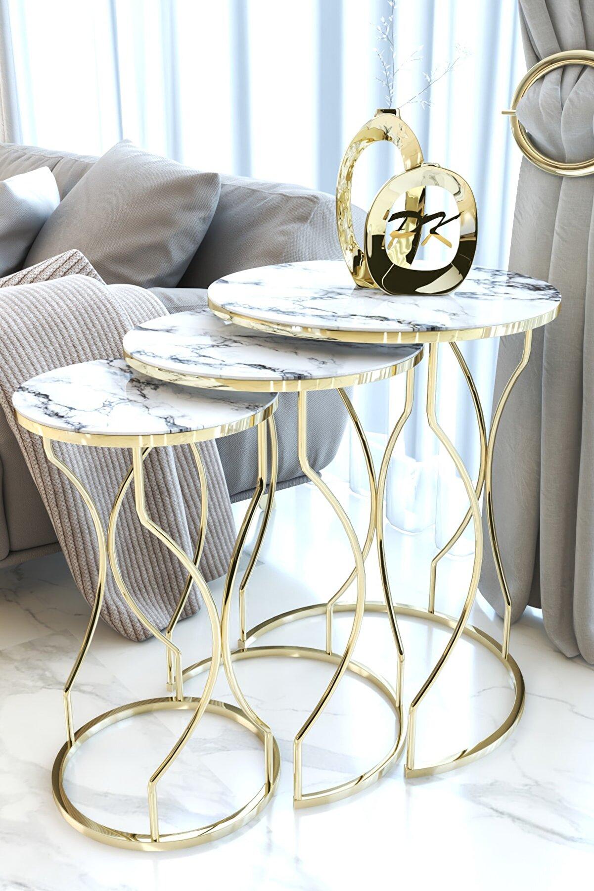 Puklife Kırılmaz Camlı Gold Rüya Model Zigon Sehpa Takımı ( Beyaz Mermer Desenli)
