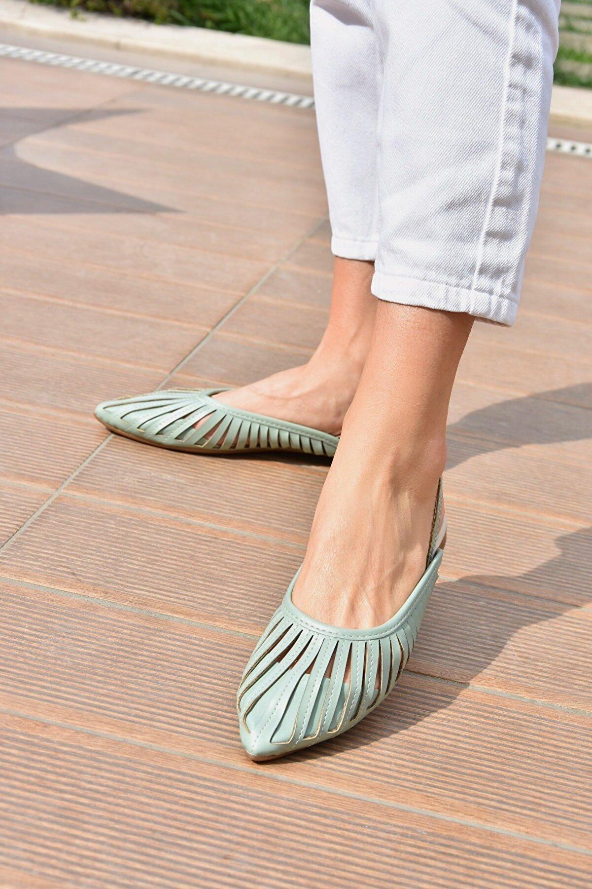 Fox Shoes Kadın Yeşil Babet K294850109