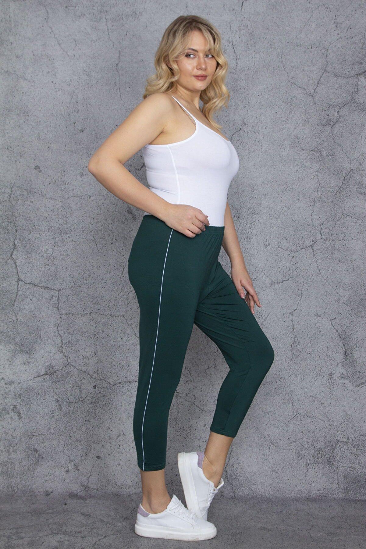 Şans Kadın Yeşil Yan Şeritli Tayt Kapri Pantolon 65N24121
