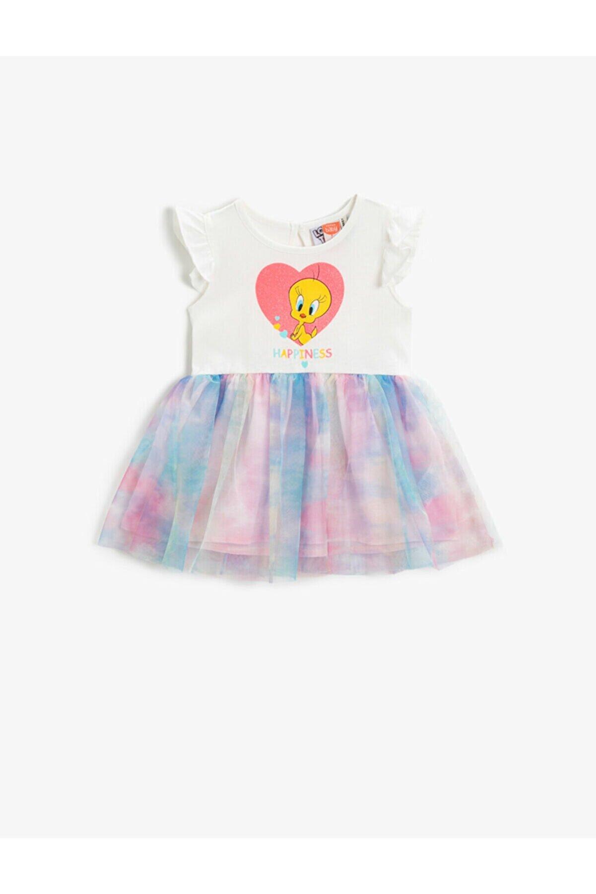 Koton Kız Çocuk Ekru Pembe Tweety Lisansli Tüllü Pamuklu Elbise