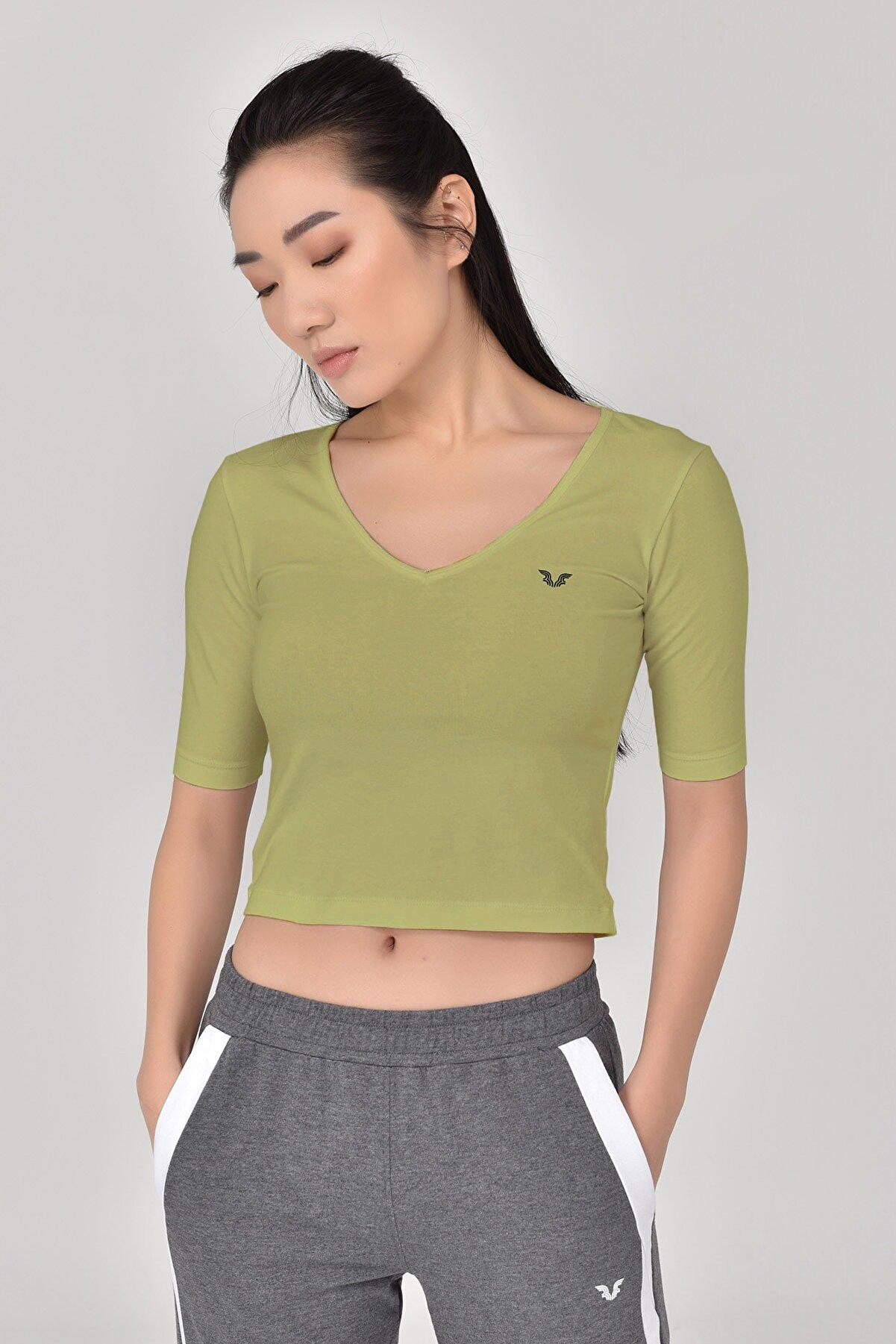 bilcee Kadın  A.yeşil Yoga T-shırt Gs-8105