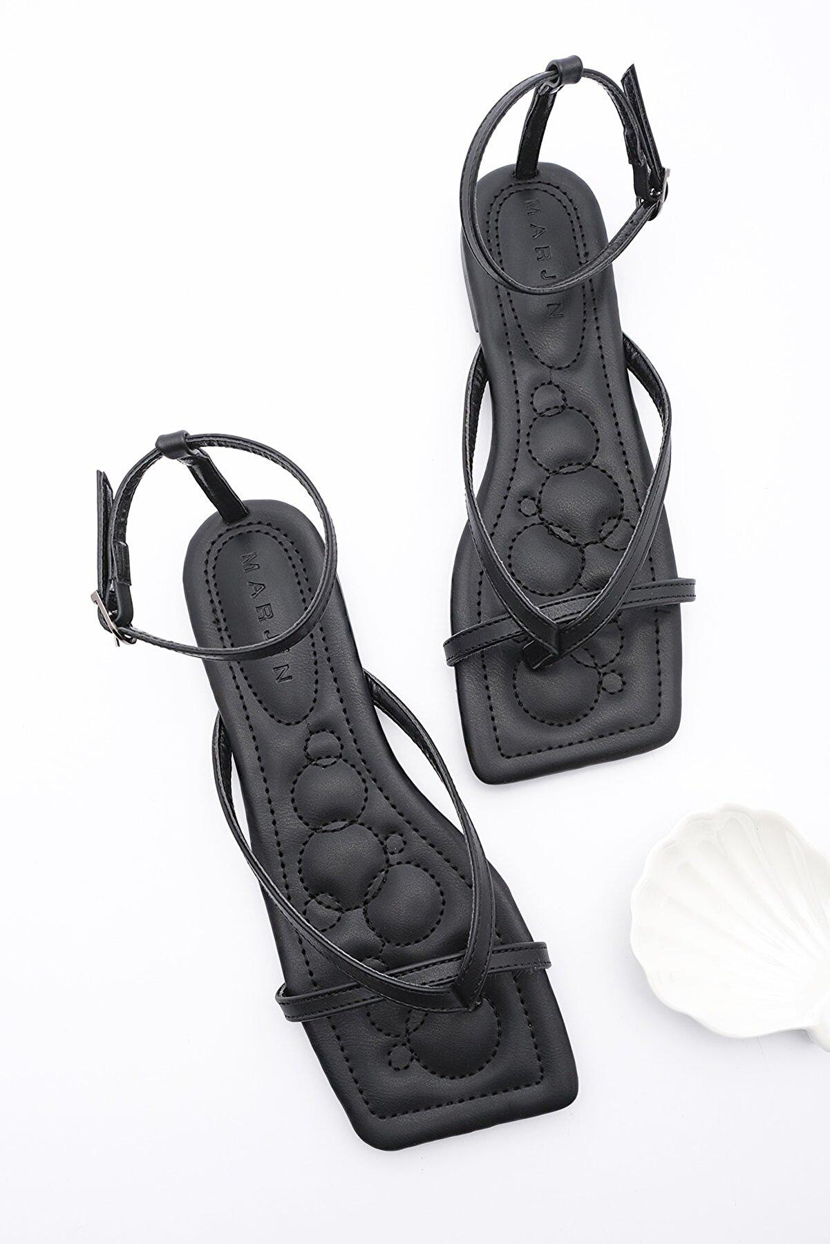 Marjin Kadın Siyah Parmak Arası Sandalet