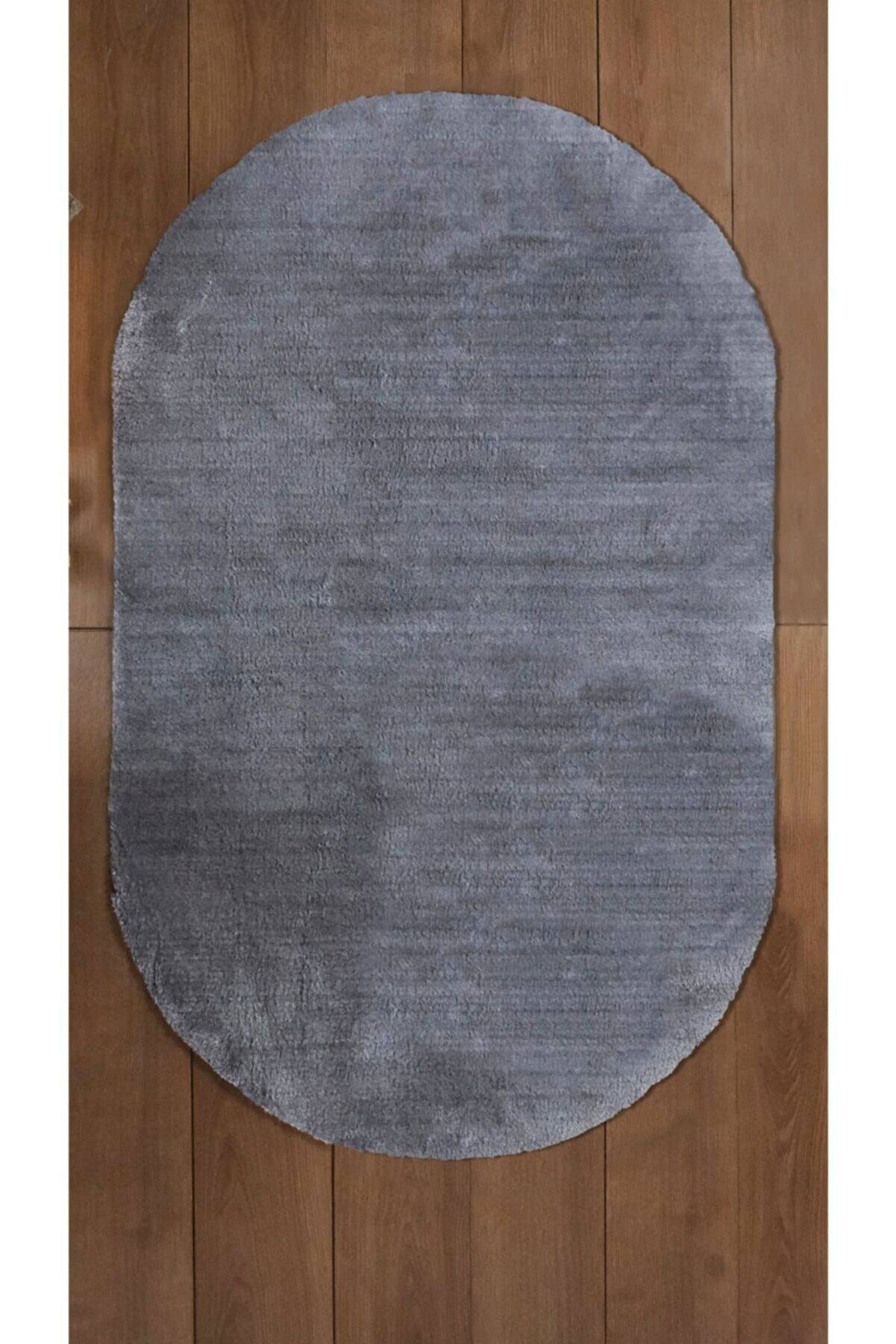 Royal Oval Halı Puf Düz Antrasit Kaymaz Taban 100x180