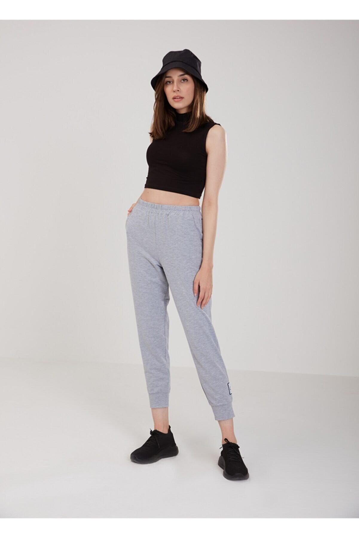 oia Kadın Gri Pamuklu Eşofman Altı Pantolon