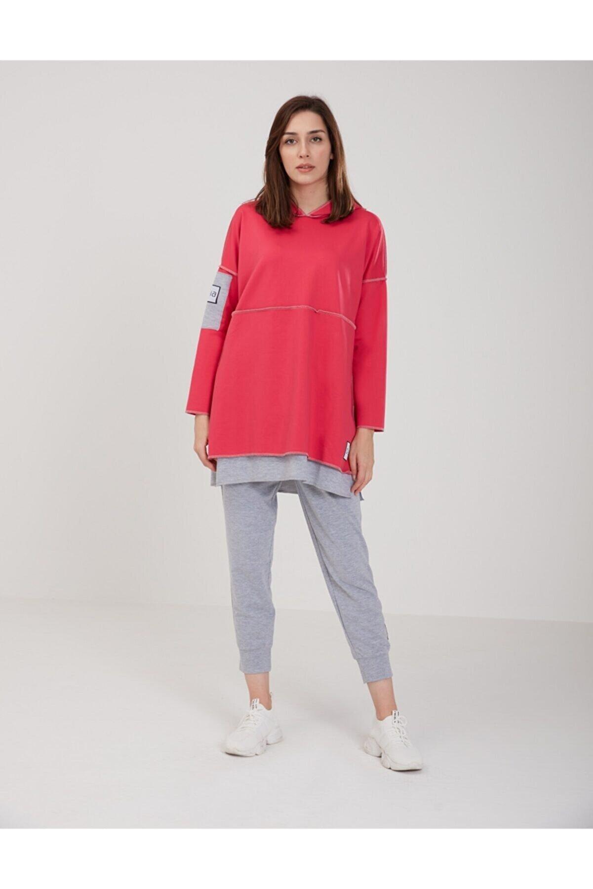 oia Kadın Fuşya Renk Pamuklu Tunik Pantolon Eşofman Takım W-0900