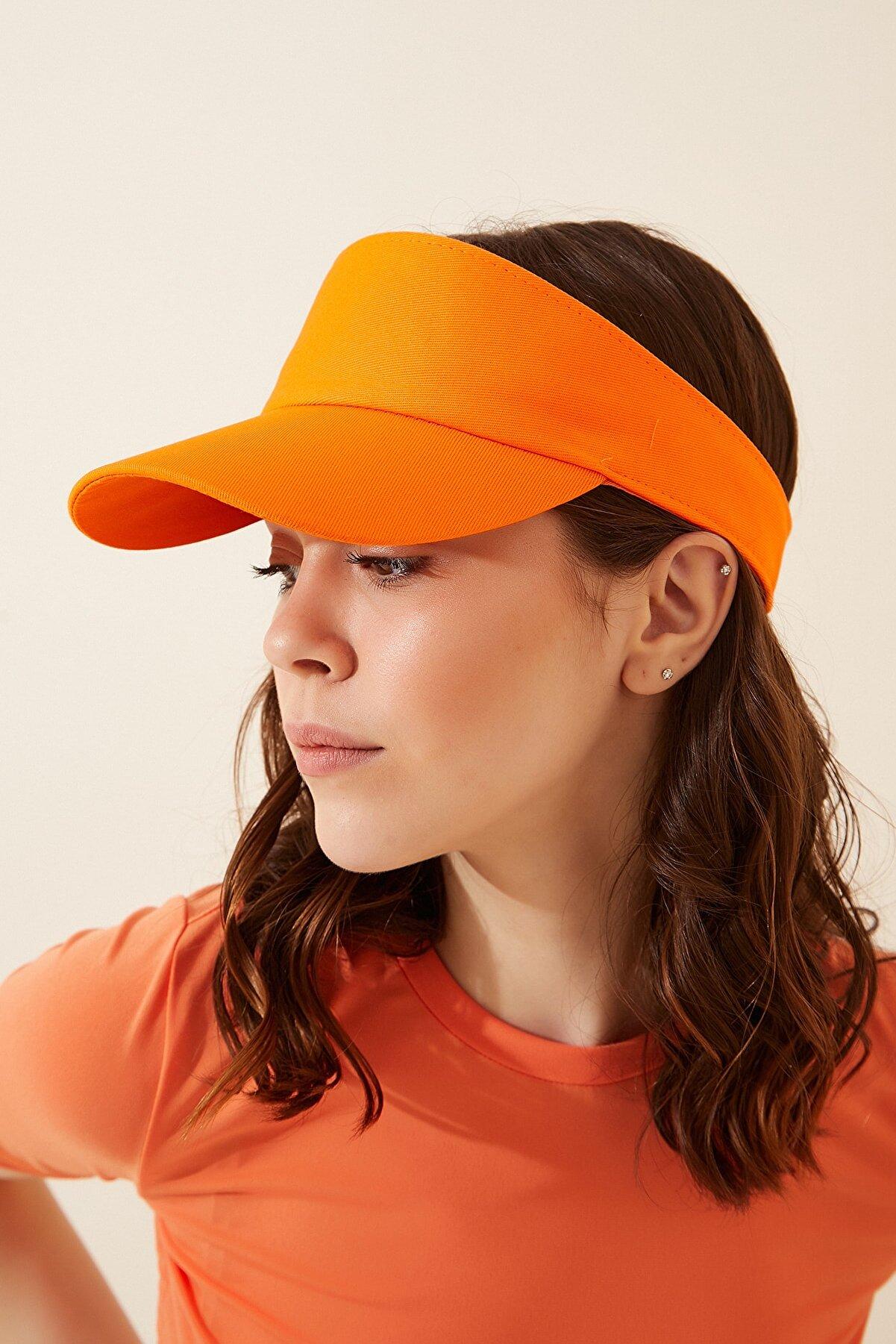 Happiness İst. Kadın Oranj Ayarlanabilir  Bantlı Tenis Şapkası PD00027