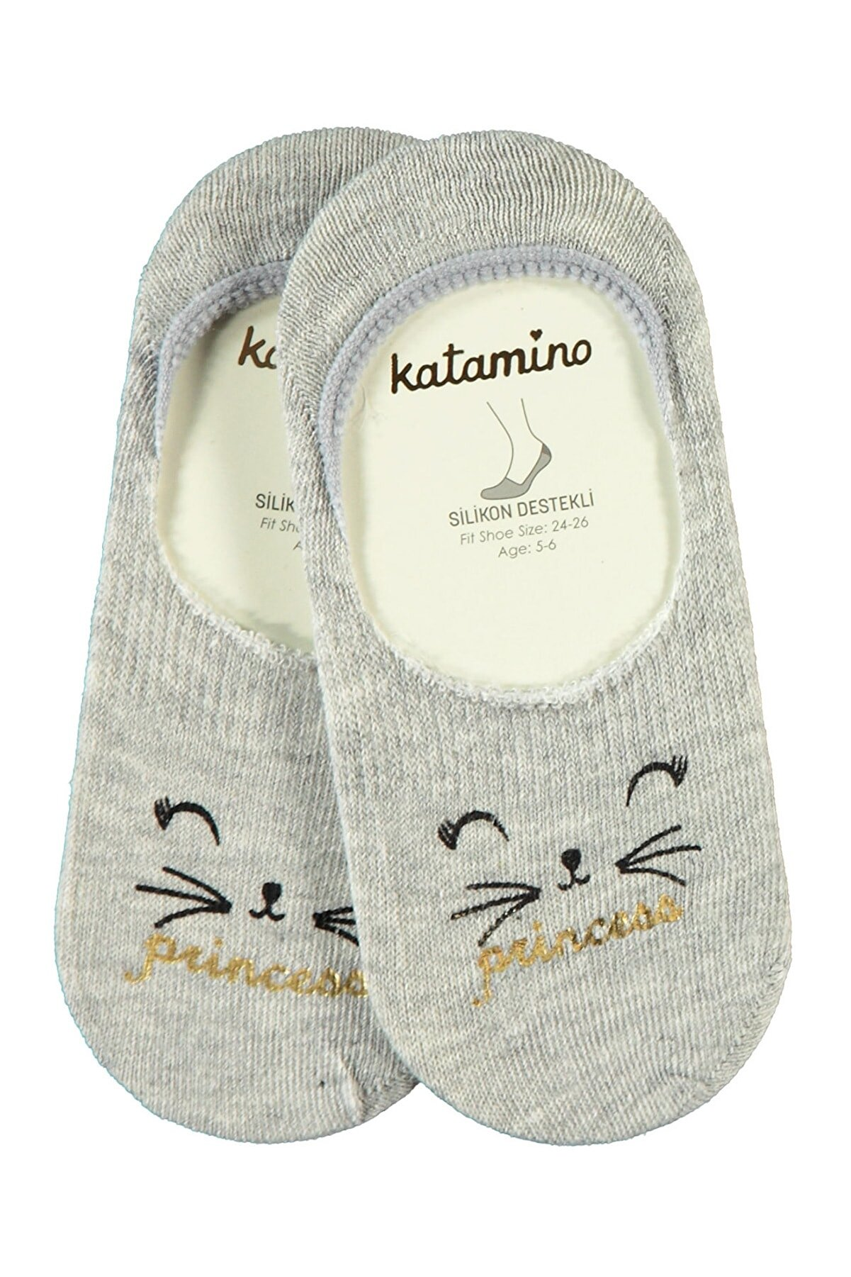 Katamino Kız Çocuk Babet Çorap 5-13 Yaş Gri