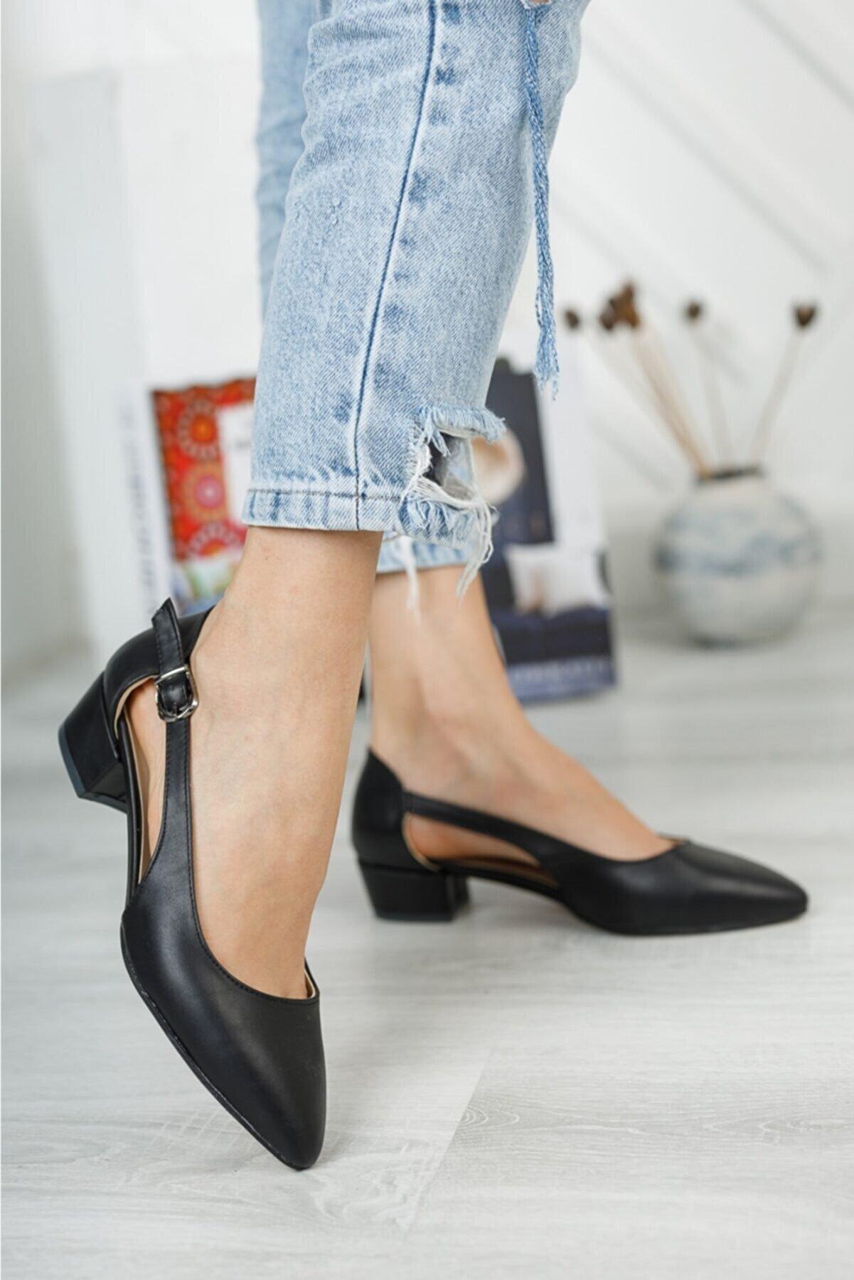 Nirvana ayakkabı Kadın Siyah Cilt Yan Açık Topuklu Ayakkabı
