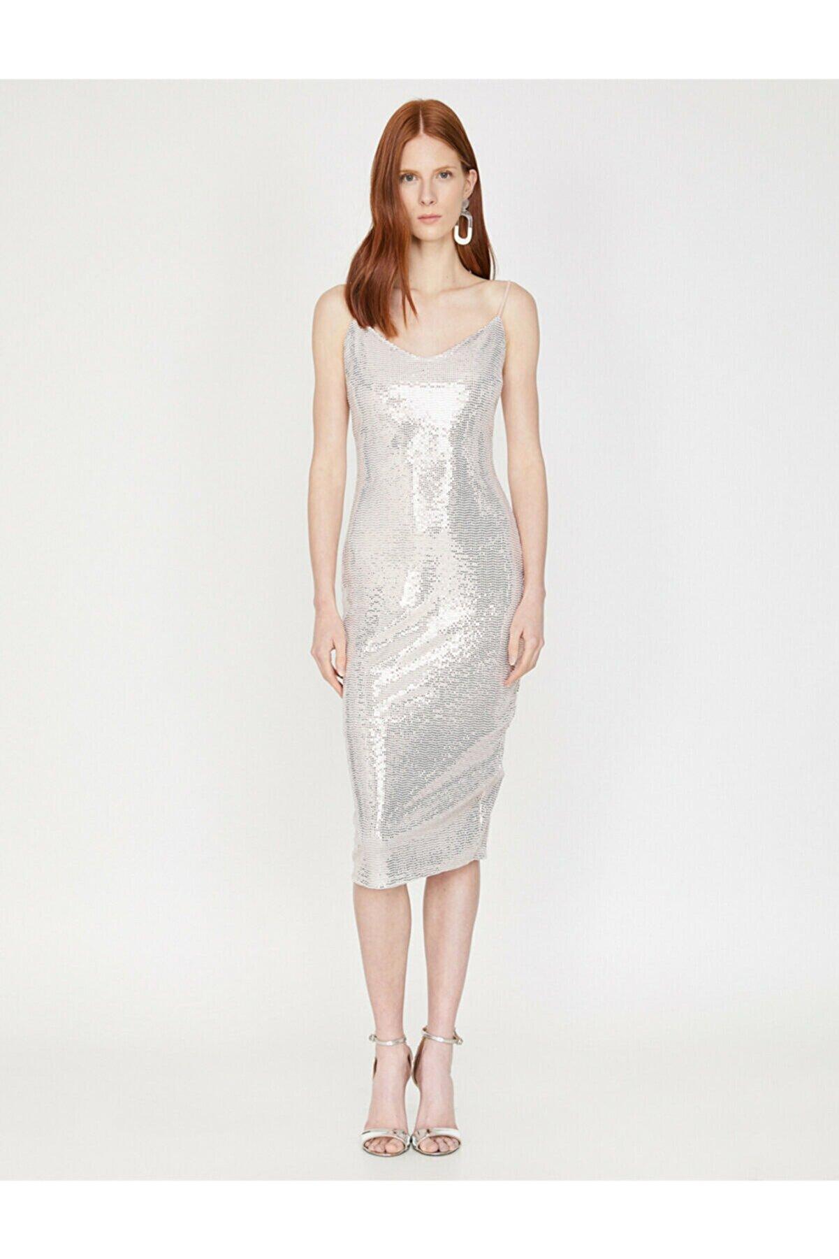Koton Kadın Beyaz Askılı V Yaka Midi Elbise 9YAK84691FK