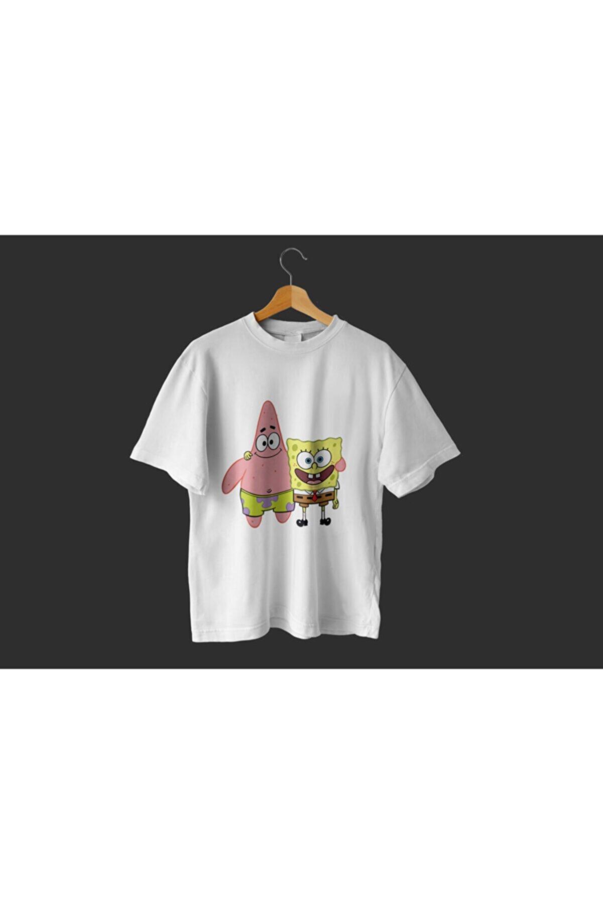 SPONGEBOB Sponge Bob & Patrick Star - Unisex Beyaz Oversize T-shirt