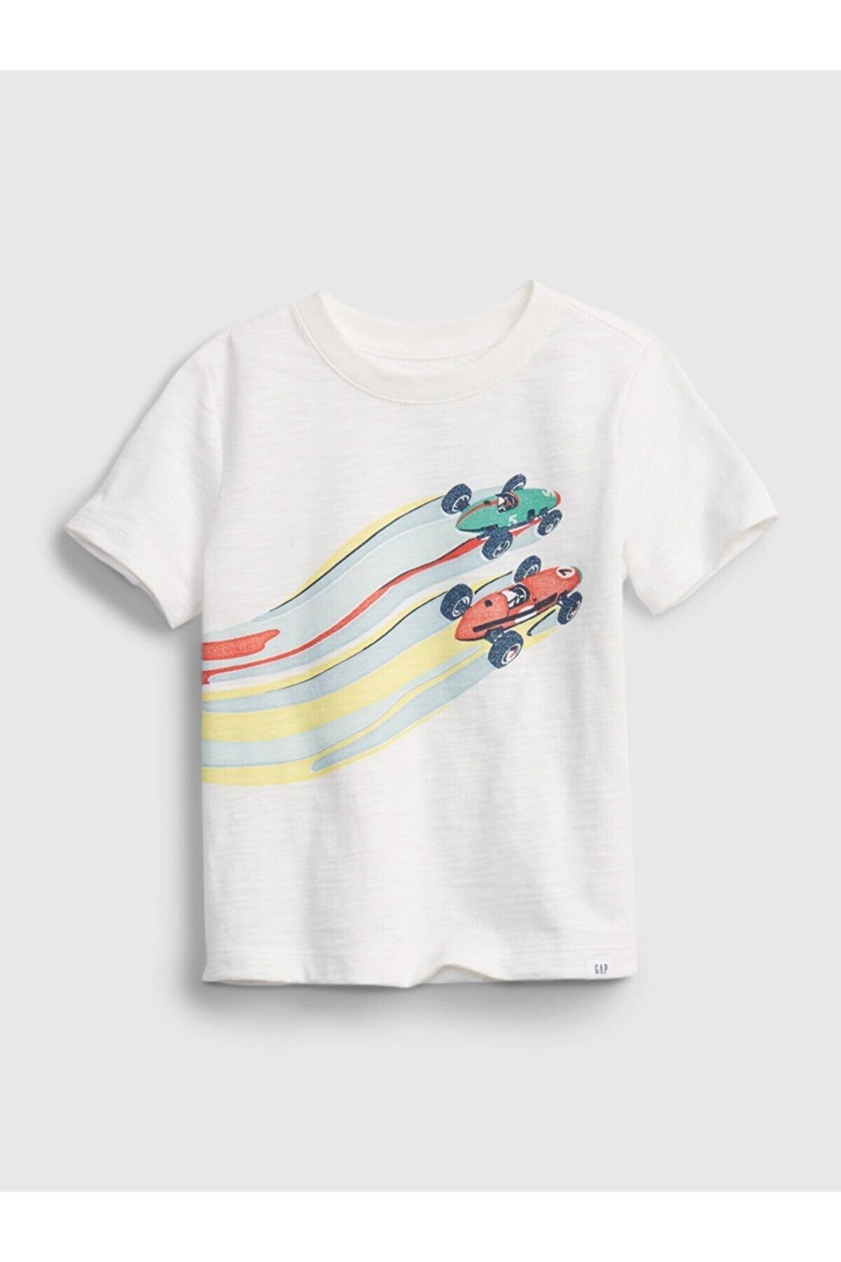 GAP Erkek Bebek Beyaz Grafik T-shirt