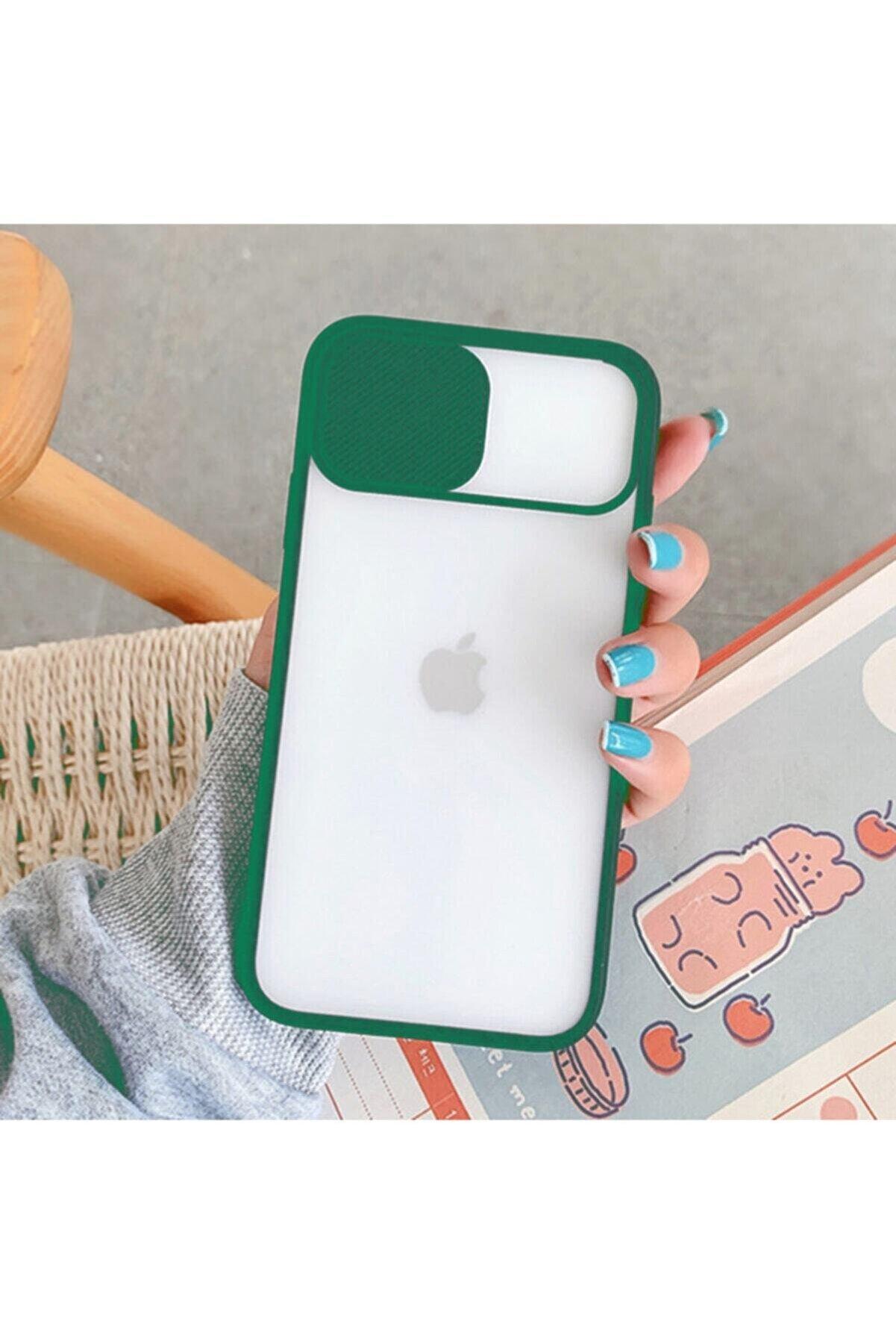 Teknoçeri Iphone 7- 8 Plus Uyumlu Koyu Yeşil Kamera Kapatan Koruyucu Sürgülü Kılıf