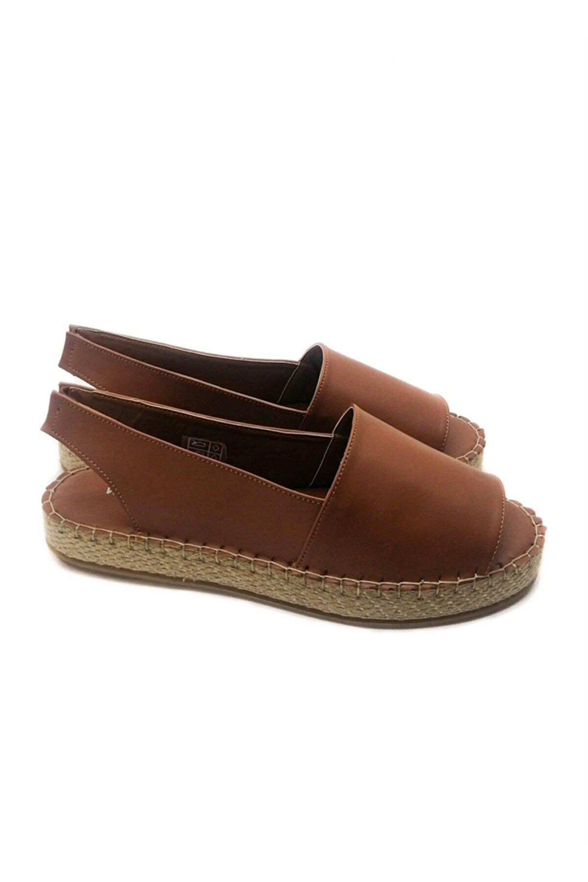 WHİTE LİNE Kadın Kahverengi Cilt Sandalet