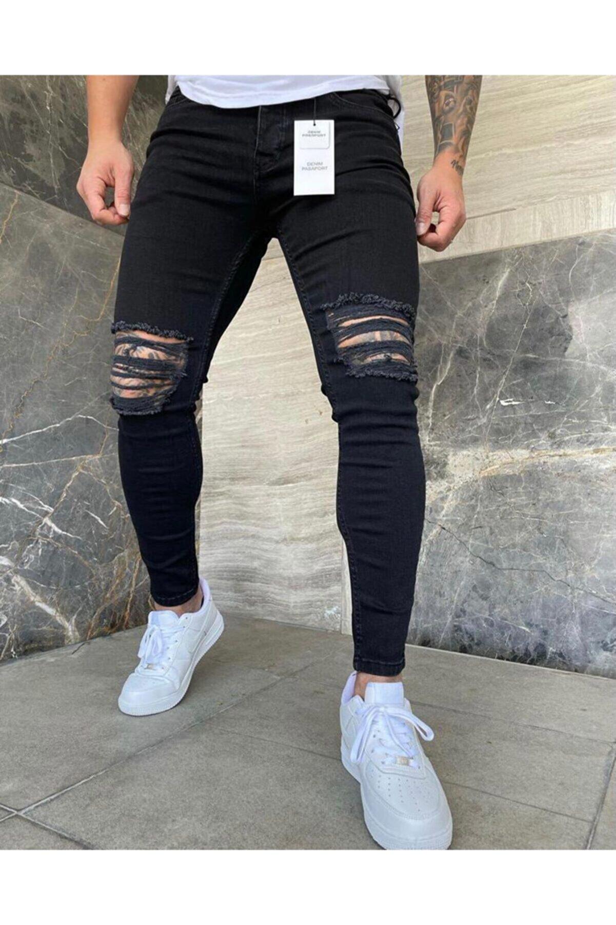 denim pasaport Erkek Siyah Iki Diz Açık Yırtık Slim Fit Likralı Jeans