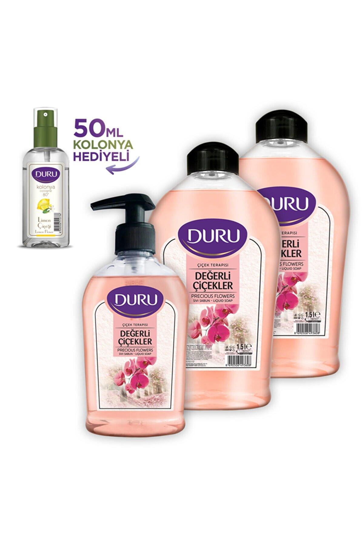 Duru Çiçekler Sıvı Sabun 1,5 1,5 300ml 50 ml Kolonya Hediyeli