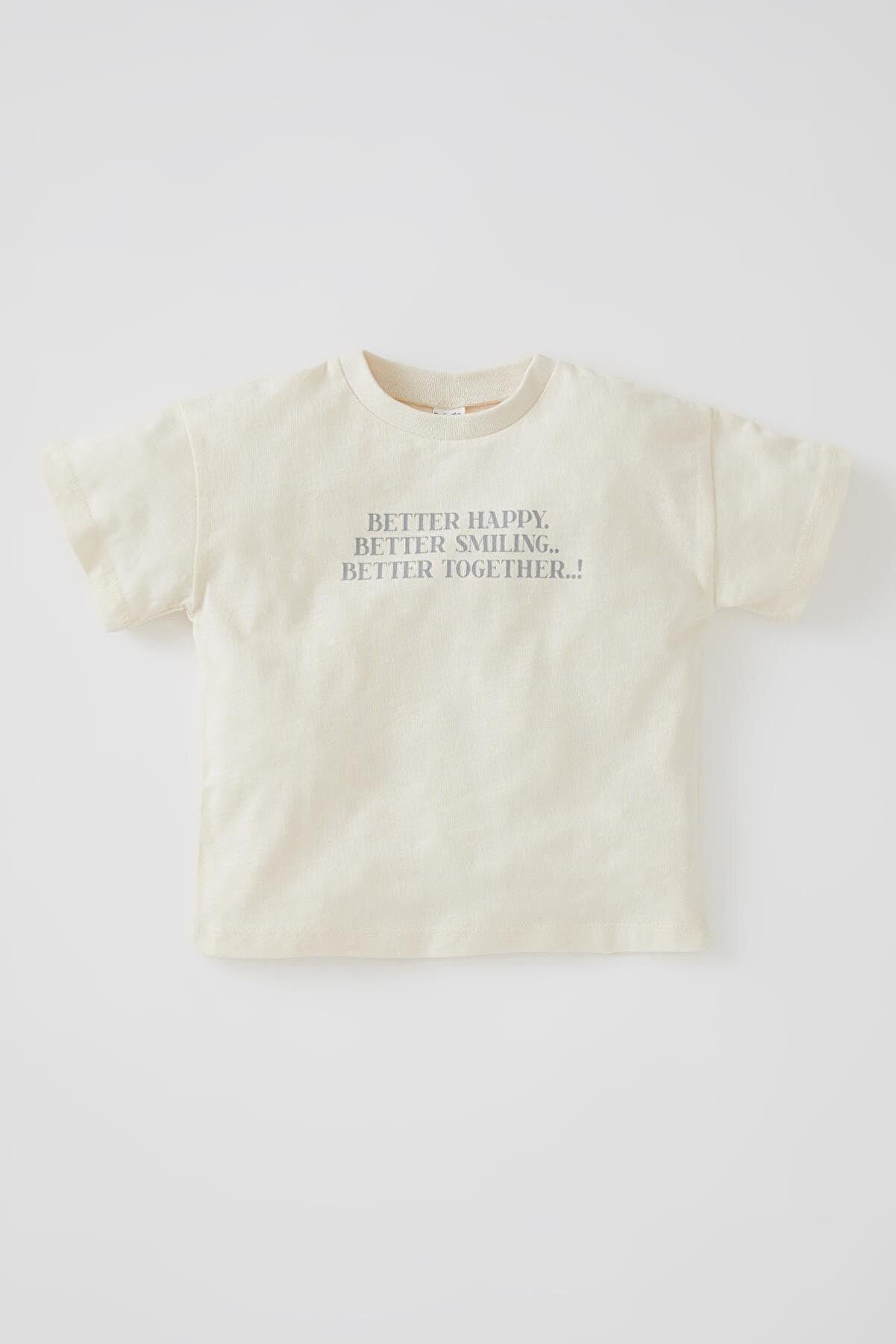 Defacto Unisex Slogan Baskılı Kısa Kollu Organik Pamuklu Tişört