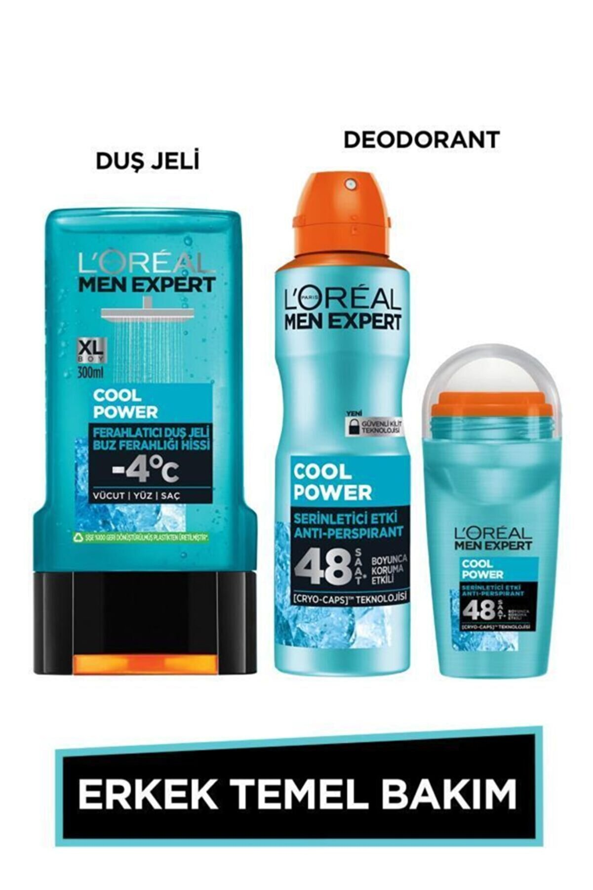 L'Oreal Paris Men Expert Erkek Temel Bakım Seti Cool Power Ferahlatıcı Duş Jeli 300ml + Cool Power Deodorant + Roll on