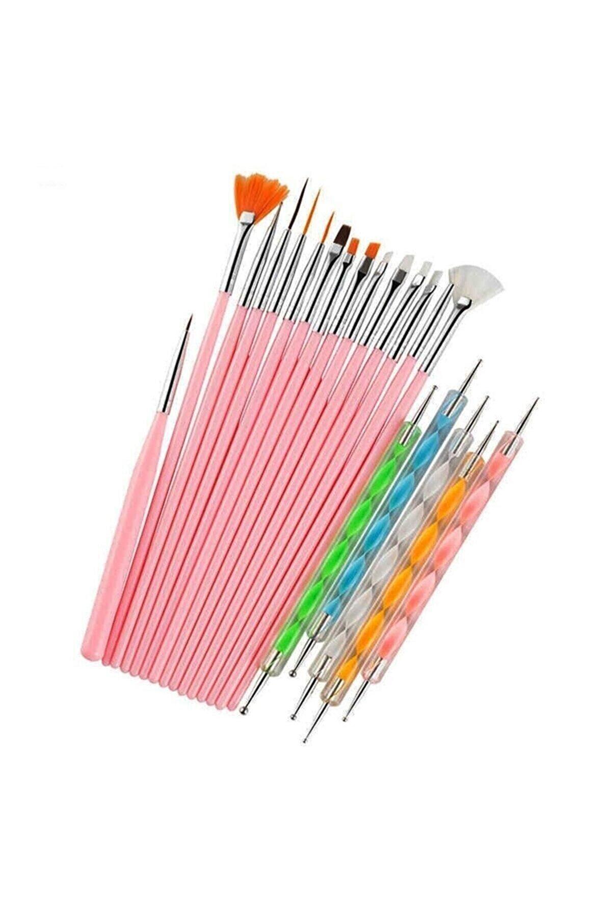 SİNKA Nail Art Tırnak Süsleme Desen Fırça 15'li  Ve Dot Kalem Seti 5'li  20 Parça