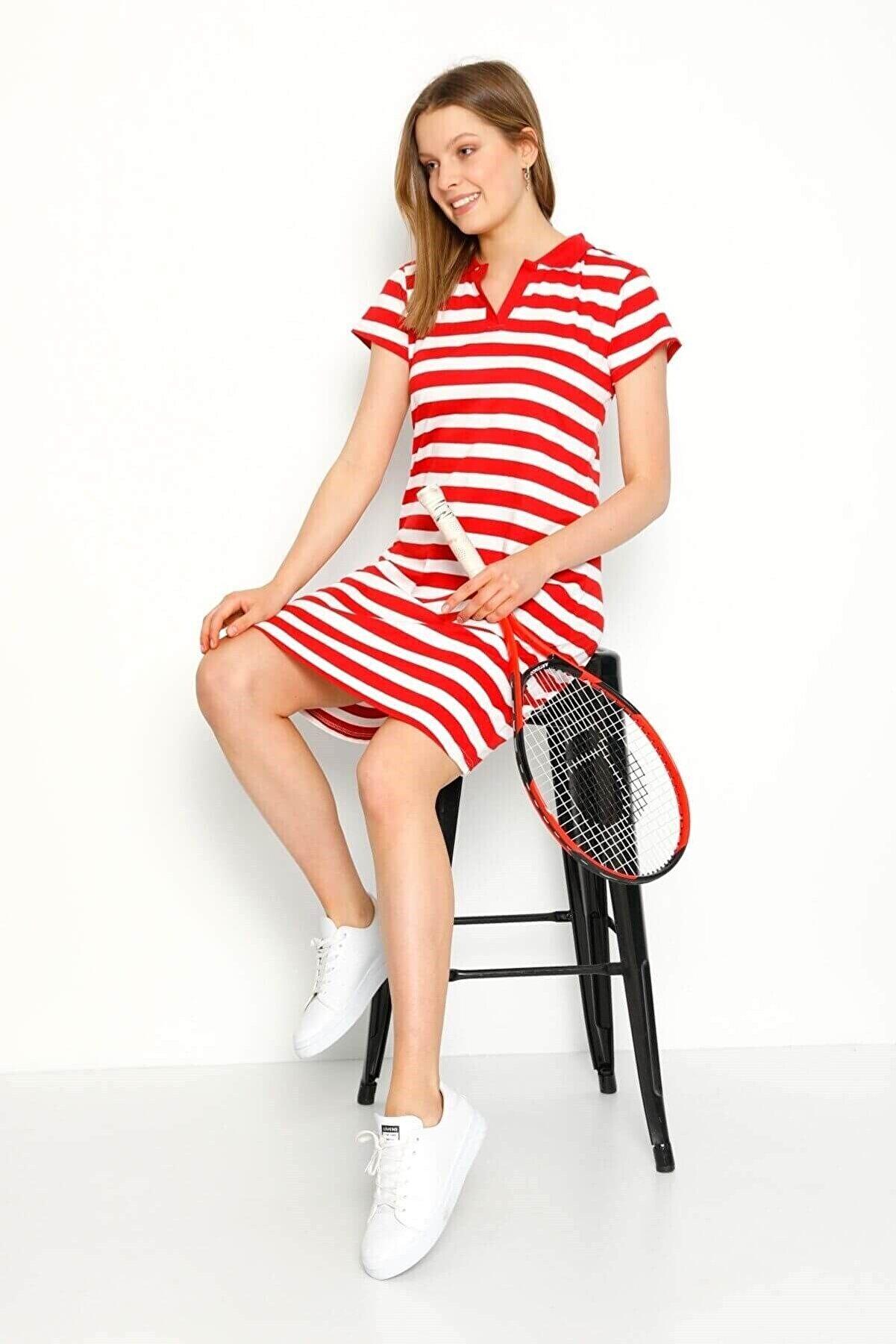 Mossta Kadın Kırmızı Kısa Kollu Yakalı Elbise
