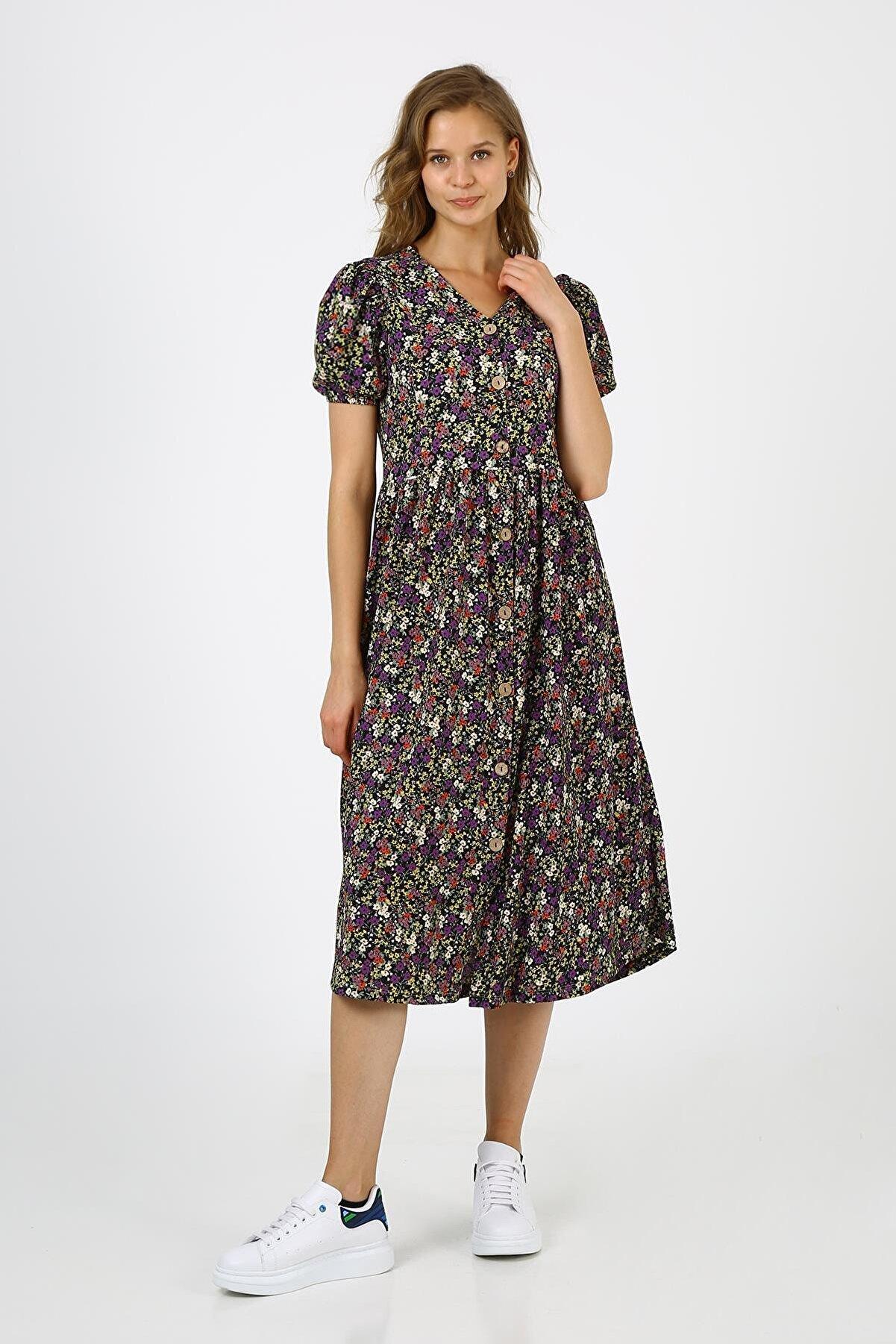 ALEXANDERGARDI Kadın Siyah Önü Düğmeli Desenli Balon Kol Elbise