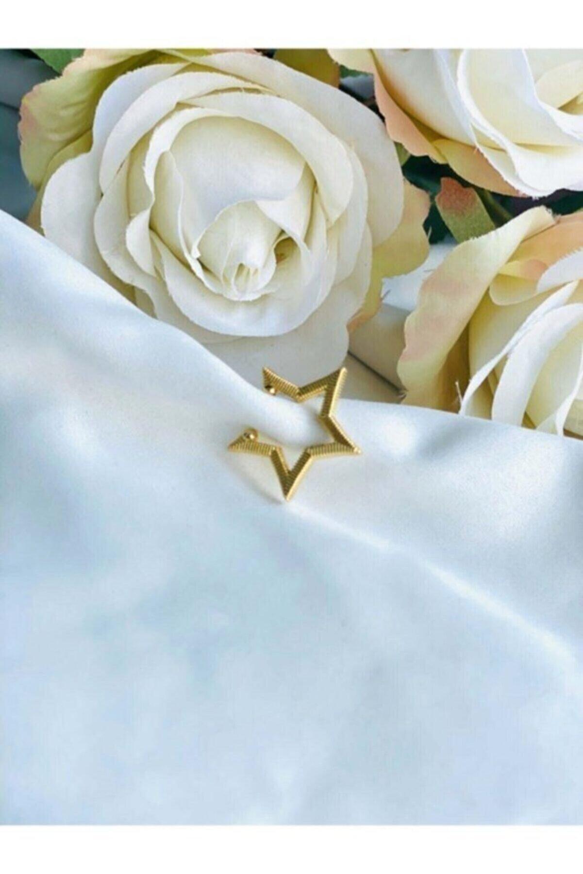 Eylülün Takısı Kadın Altın Renkli Yıldız Kıkırdak Küpe (EARCUFF)