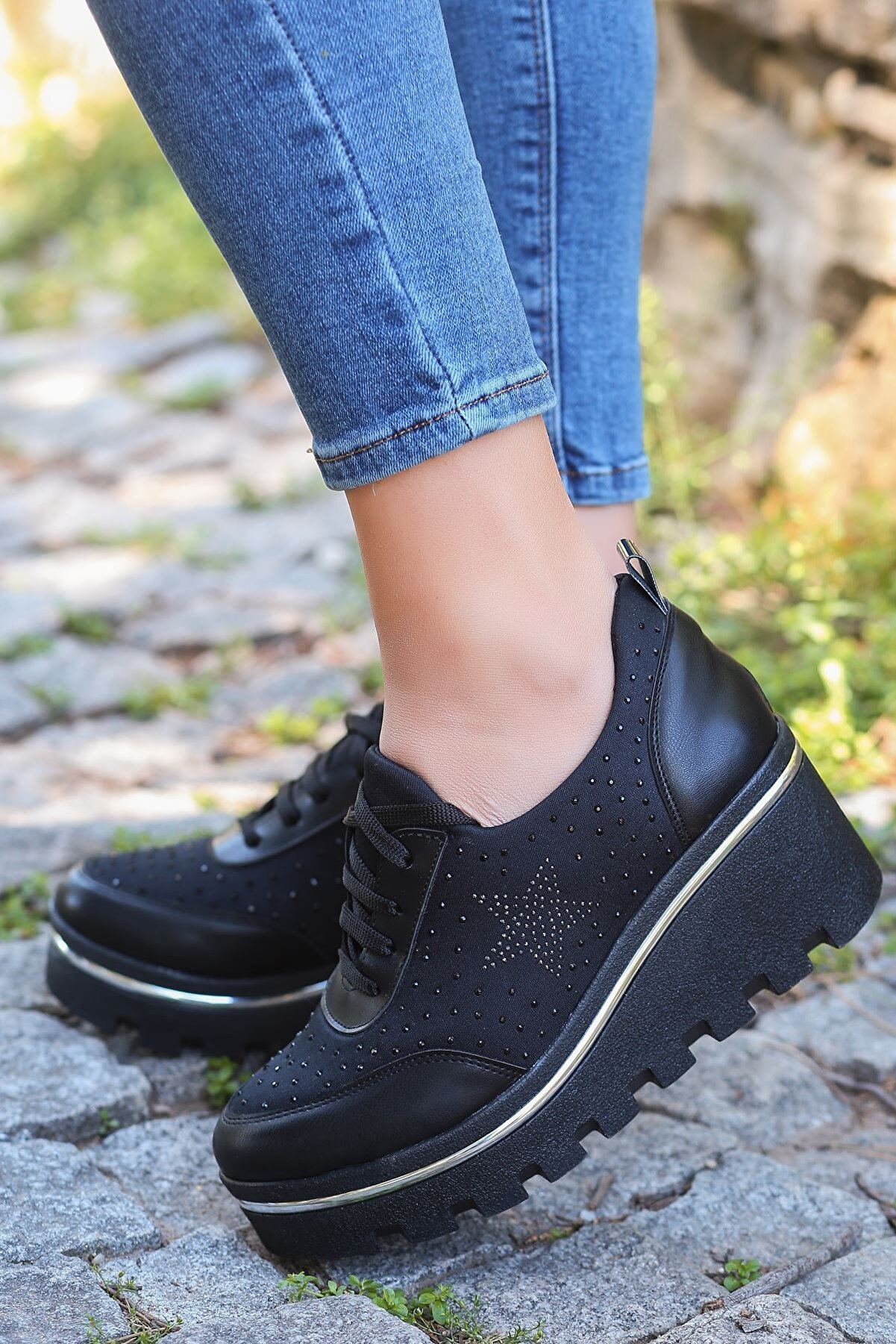 otuzbesshoes Dalgıç Kumaş Taş Detay Dolgu Yeni Topuk Ayakkabı