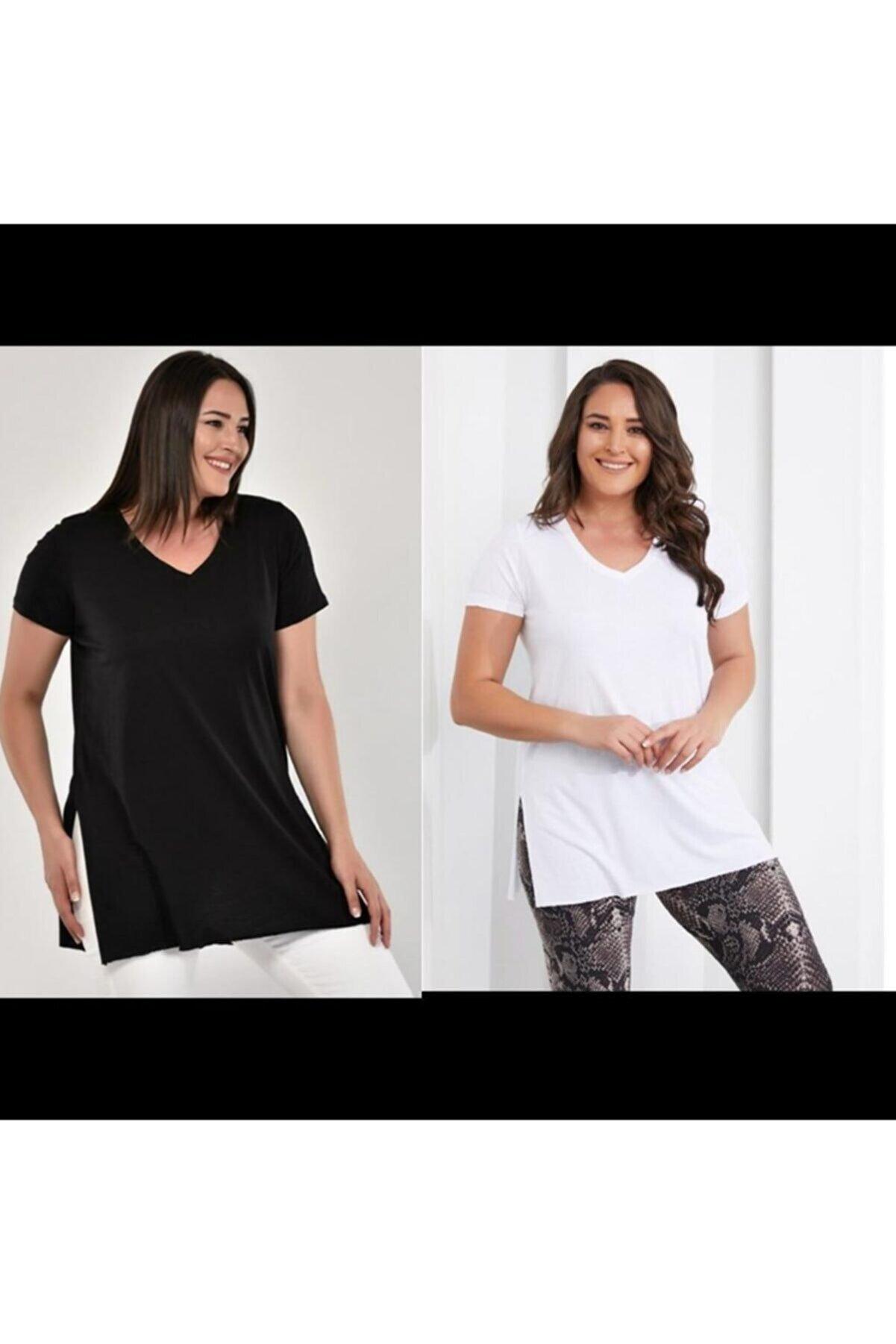 Rengarenkcity Kadın Siyah Ve Beyaz V Yaka Yanları Yırtmaçlı T-şhirt