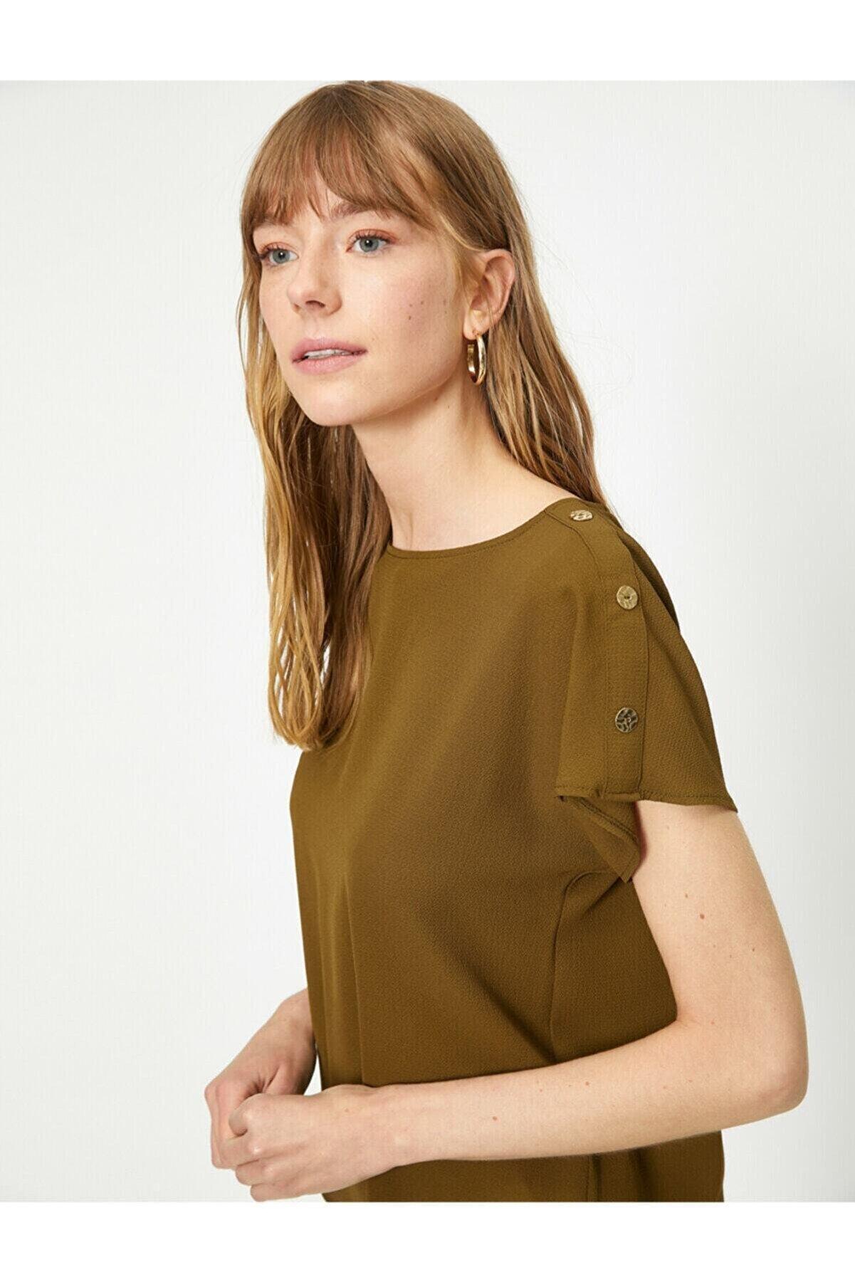 Koton Kadın Yeşil Düğme Detaylı Bluz 0yak68269pw