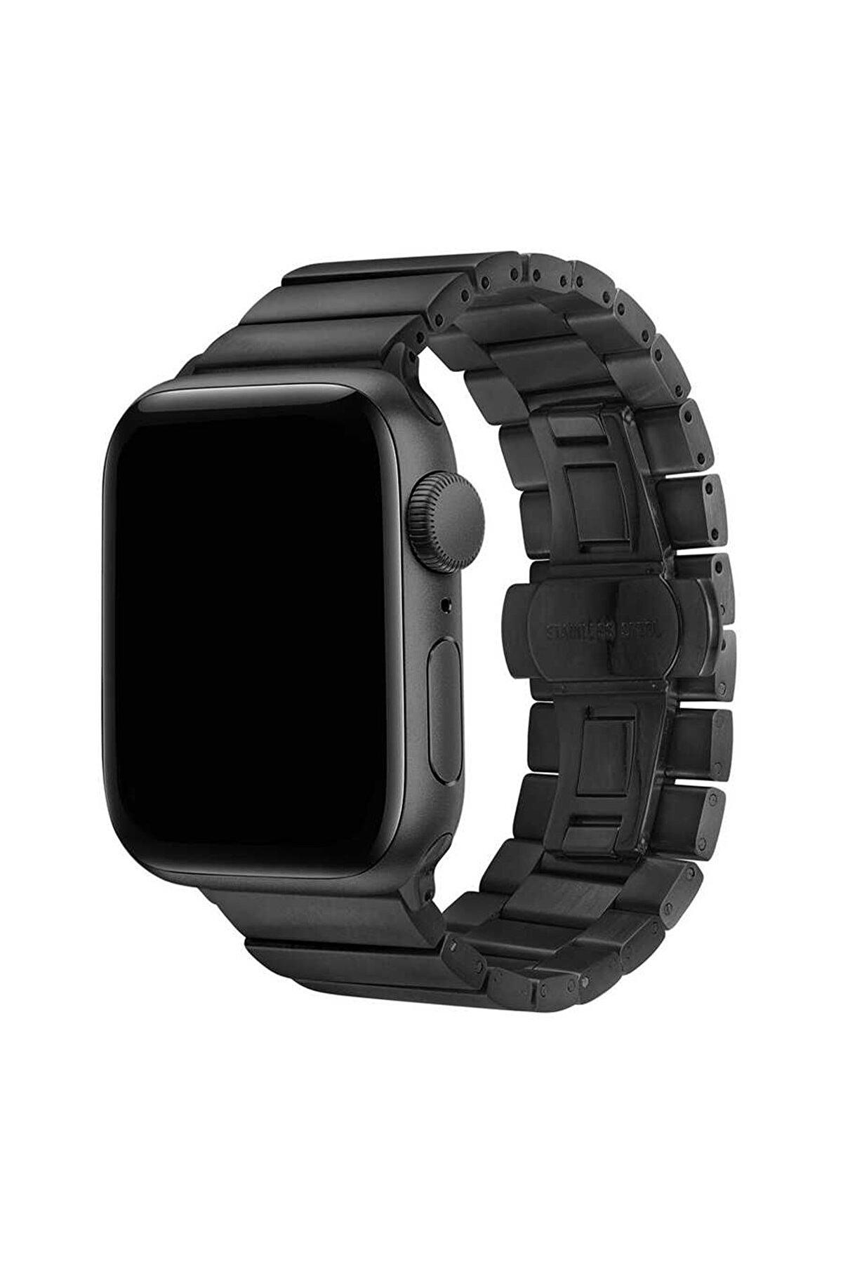 Apple Watch 44mm Kordon Metal Katlamalı Yandan Klips Açılımlı Sağlam Dizayn