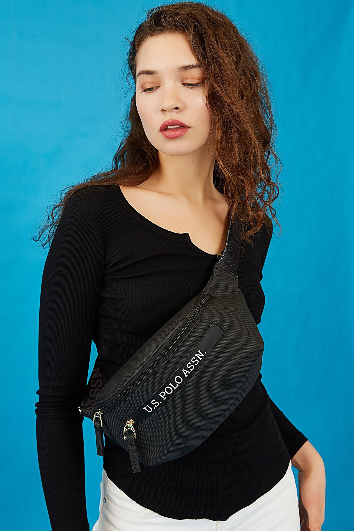 US Polo Assn Sıyah-sıyah Kadın Bel Çantası Us8215
