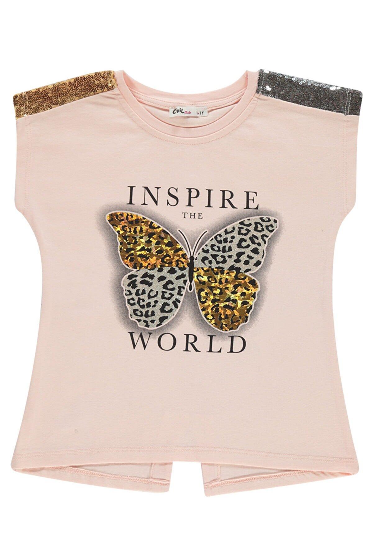 Civil Girls Kız Çocuk Somon T-Shirt