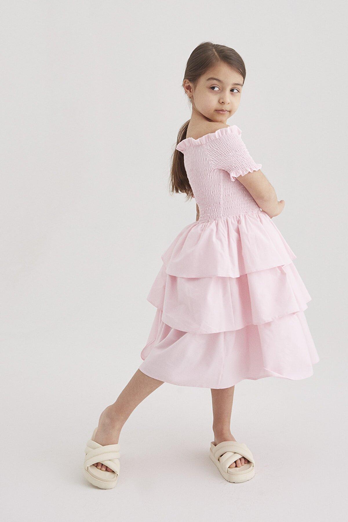 hoQuspoQus Kız Çocuk Pembe Lastik Detaylı Katlı Elbise