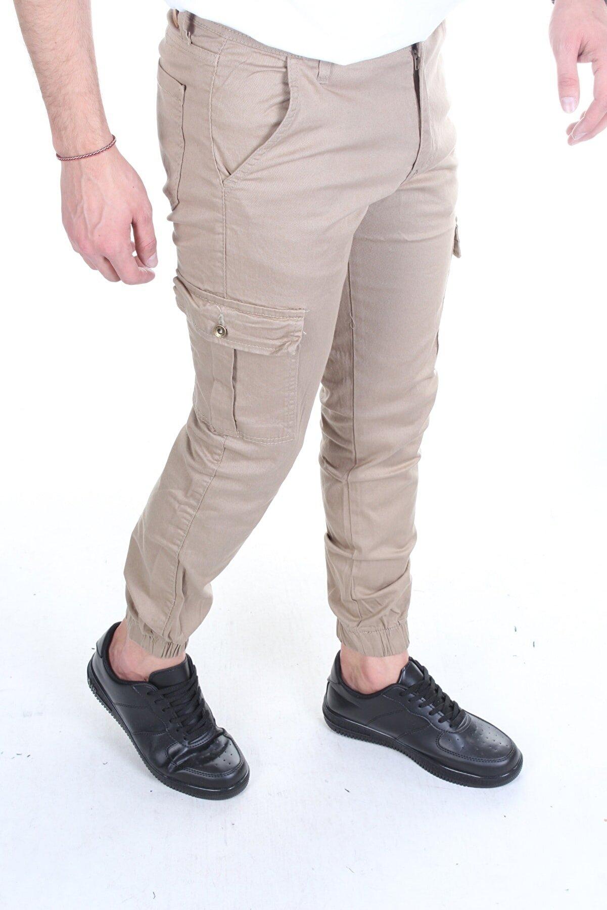 TREND YAŞAR Erkek Kahverengi Kargo Cep Paça Lastikli Pantolon