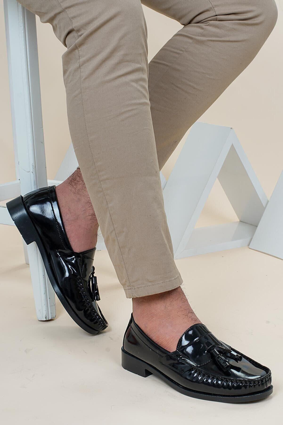 SME SHOES Erkek Siyah Rugan Corcik Loafer Ayakkabı