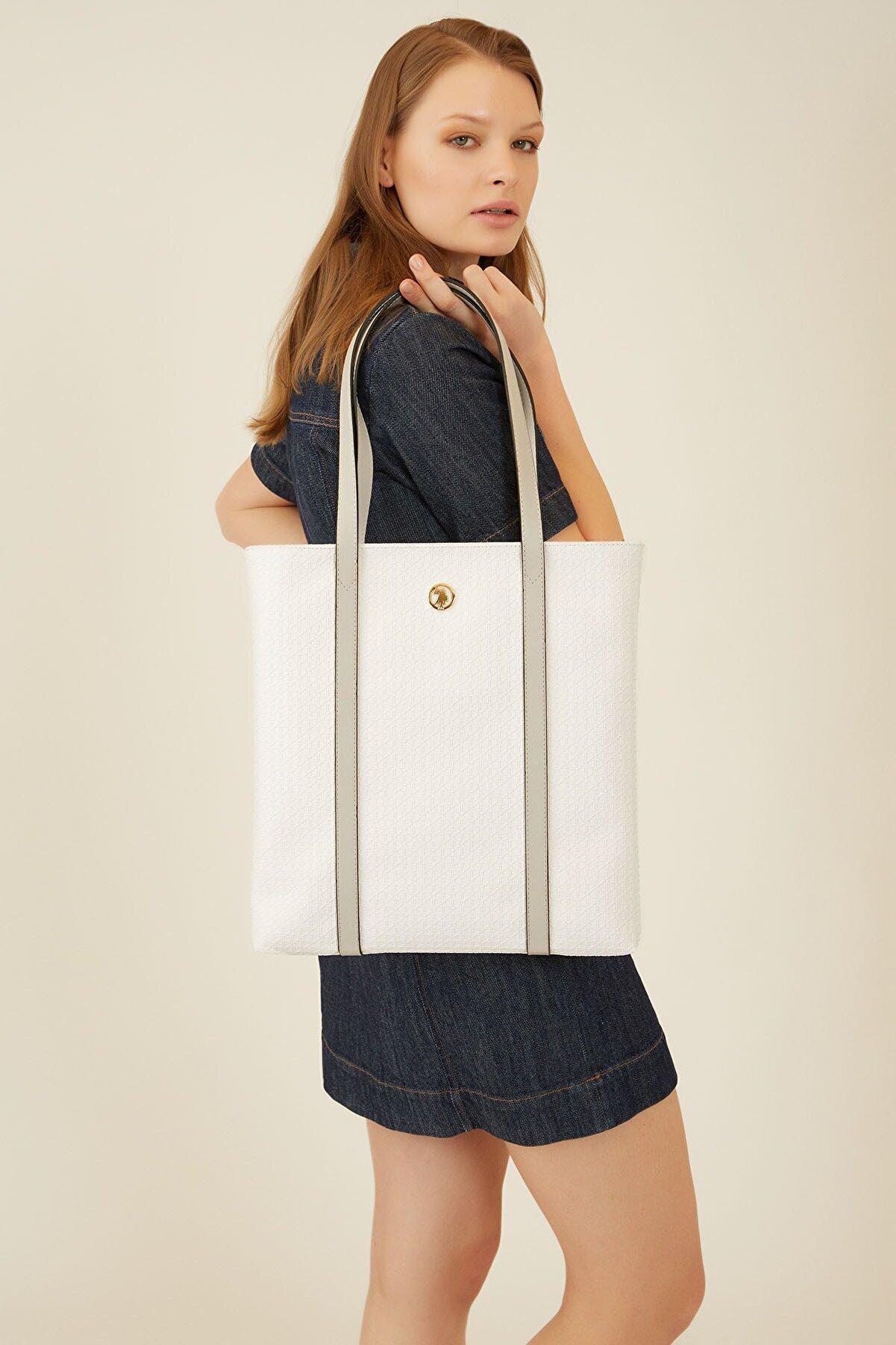 US Polo Assn Beyaz-a.grı Kadın Omuz Çantası Us8251