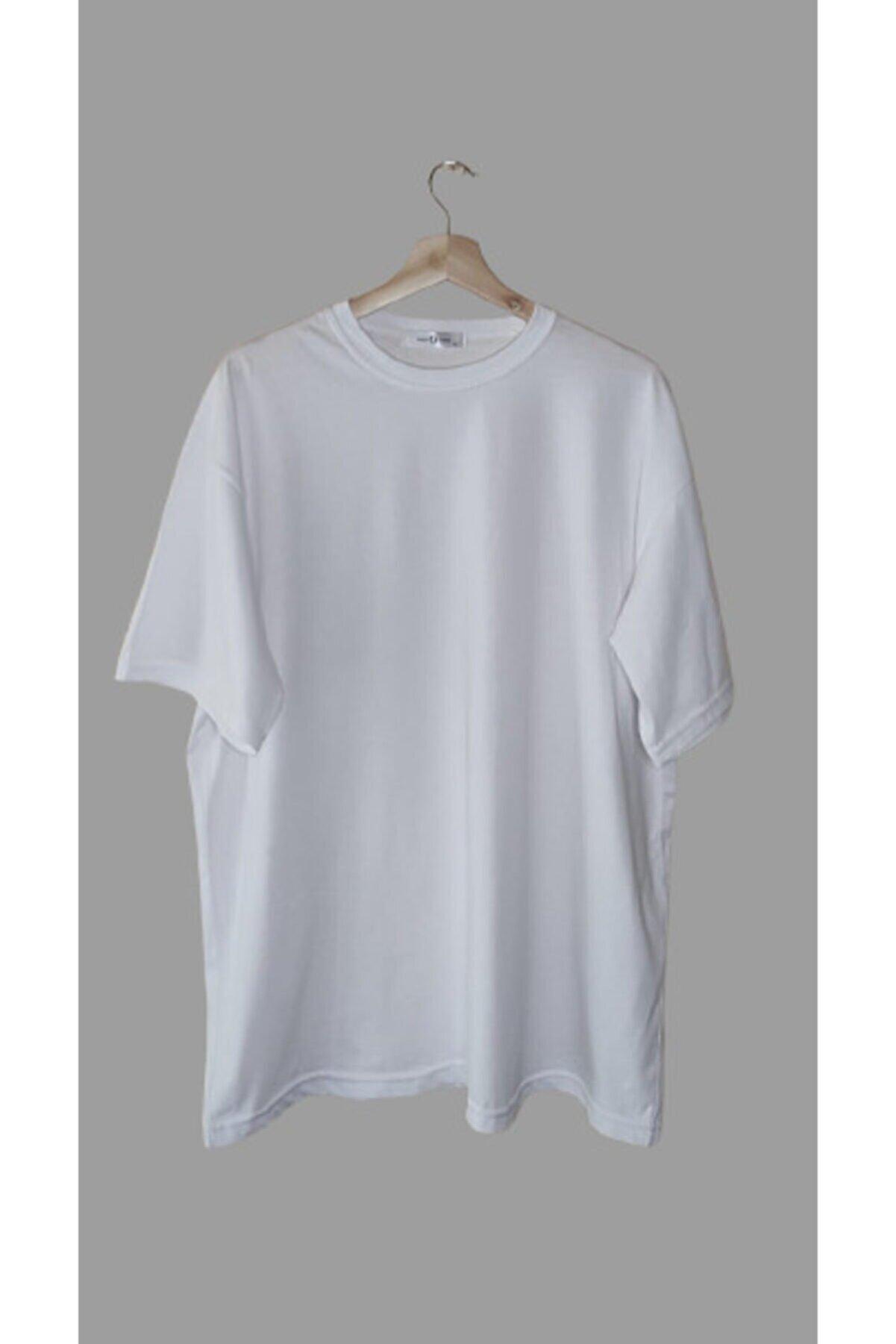 World Unisex Beyaz Oversize Tişört
