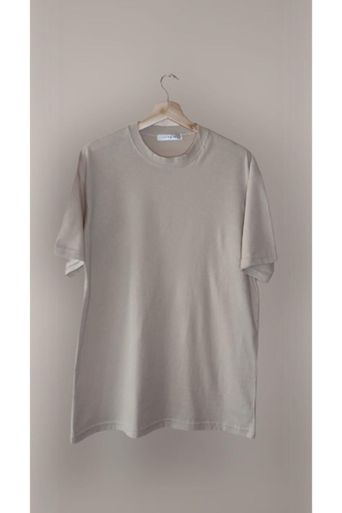 World Ünisex Bej Oversize Tişört