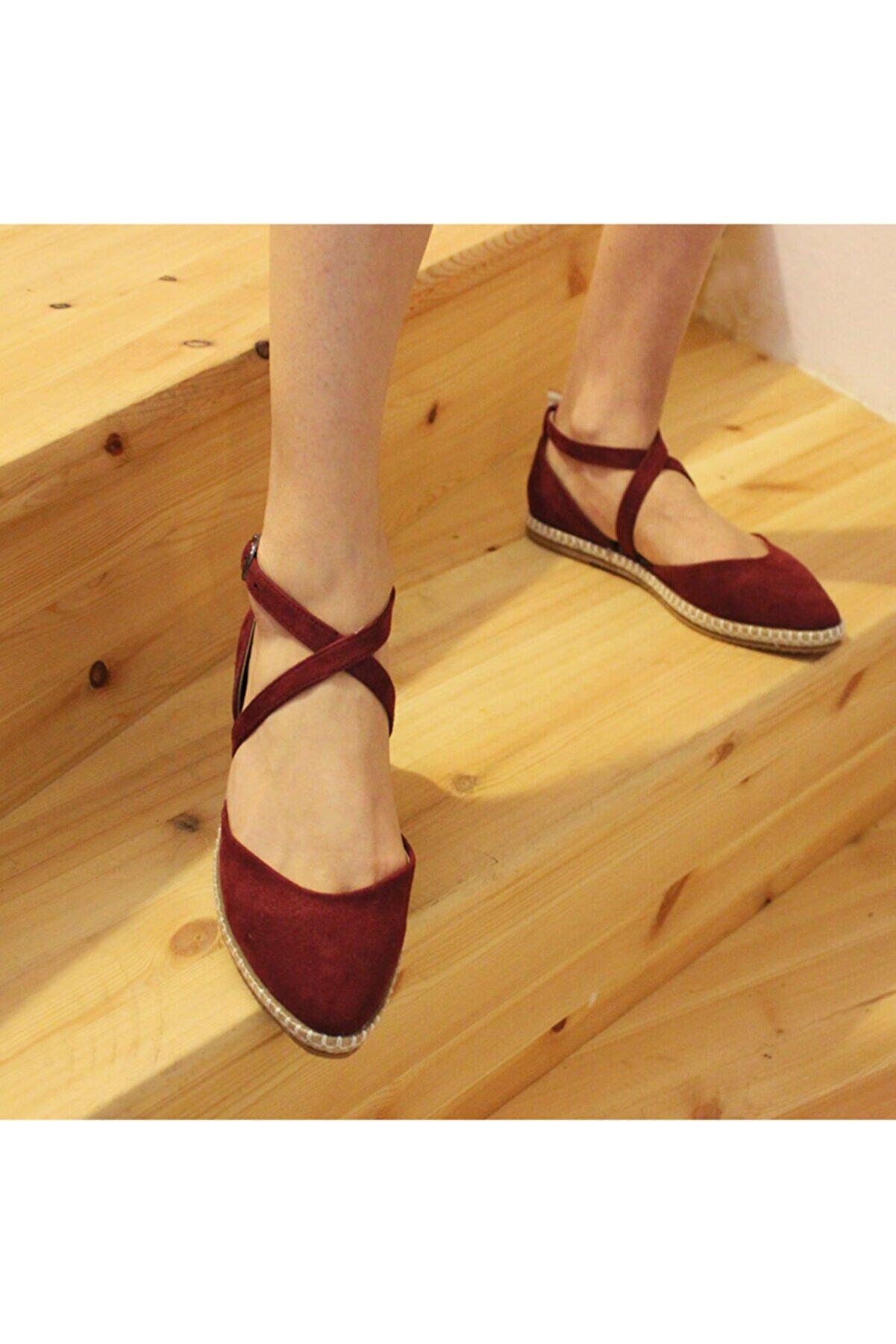Cansu Ayakkabı Kadın Bordo Süet Yargıcı Model Babet