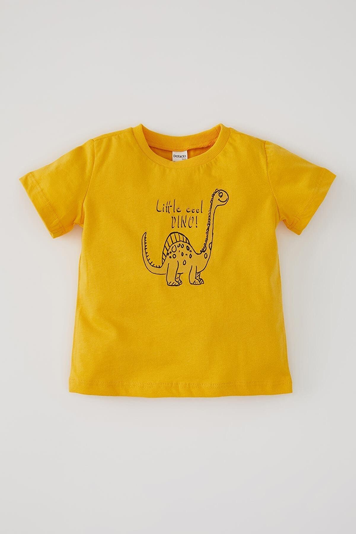 Defacto Erkek Bebek Dinozor Baskılı Pamuklu Kısa Kollu Tişört
