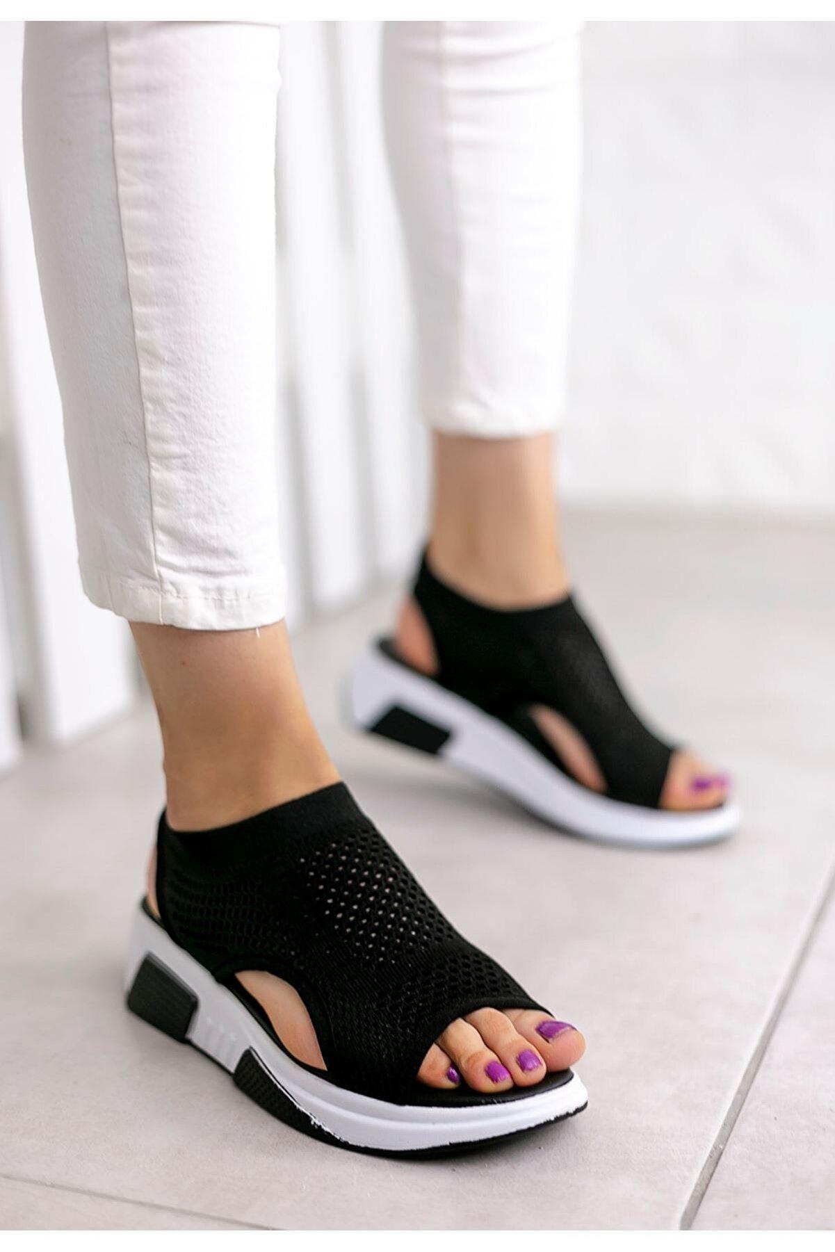 otuzbesshoes Kadın Siyah Ashley Çelik Örgü Triko Sandalet