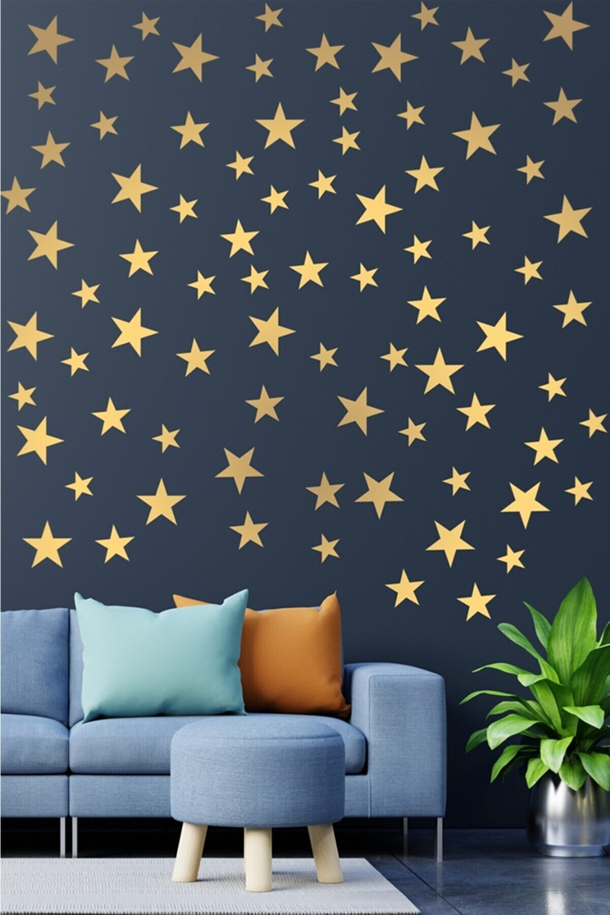 visare Çocuk Bebek Odası 100 Adet Metalize Altın Rengi Yıldız Dekoratif Duvar Sticker