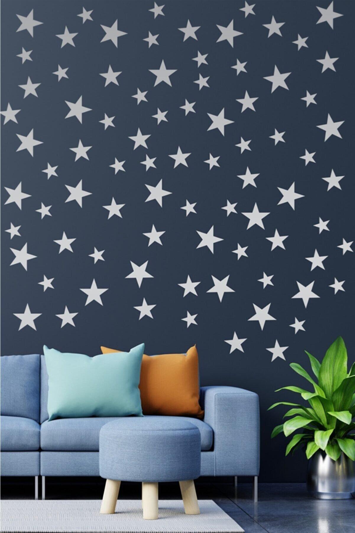 visare Çocuk Bebek Odası 100 Adet Metalize Gümüş Rengi Yıldız Dekoratif Duvar Sticker