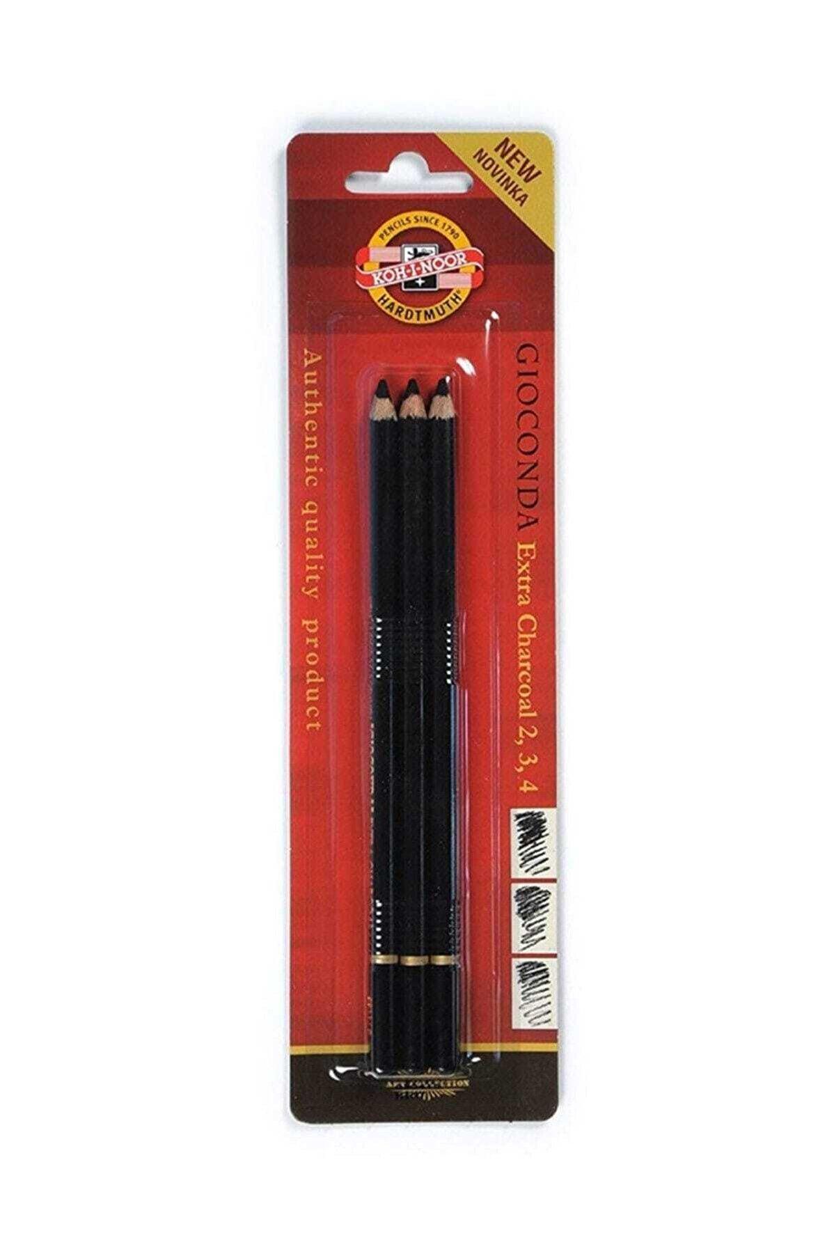 Kohinoor Gioconda Extra Charcoal Kömür Füzen Kalem 3`lü Set
