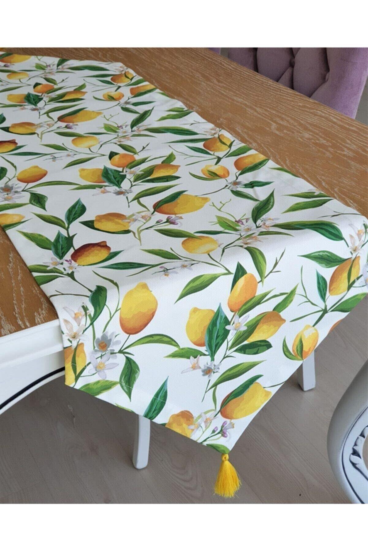 ELS Design Beyaz Zemin Limon Desen Runner